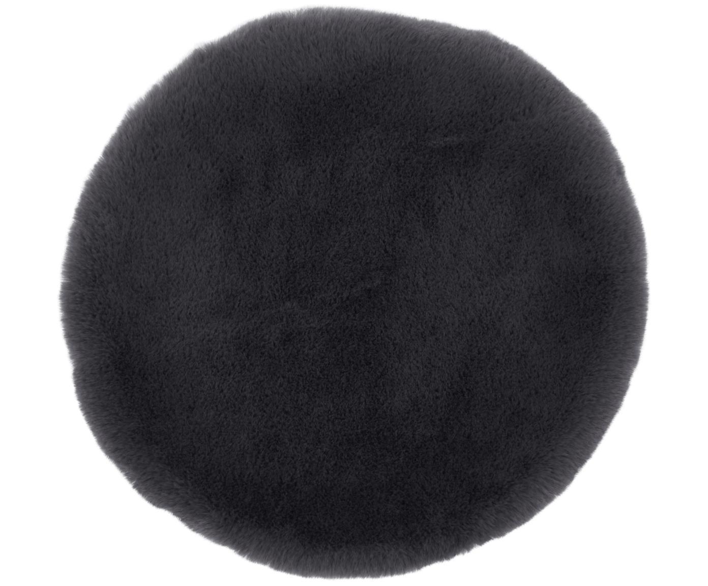 Cuscino sedia in pelliccia sintetica Matte, liscio, Retro: 100% poliestere, Grigio scuro, Ø 37 cm