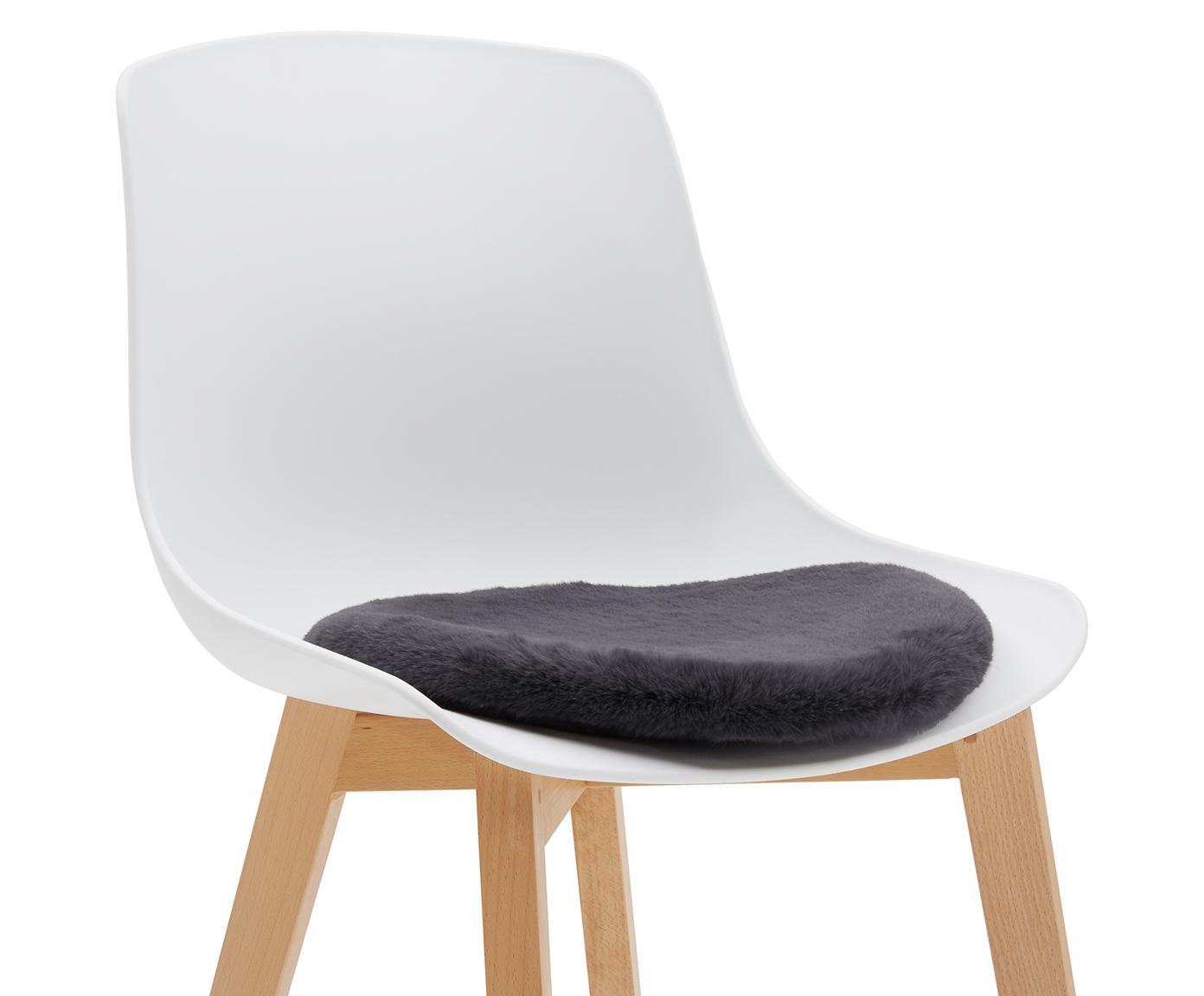 Galette de chaise en fourrure synthétique lisse Mette, Gris foncé