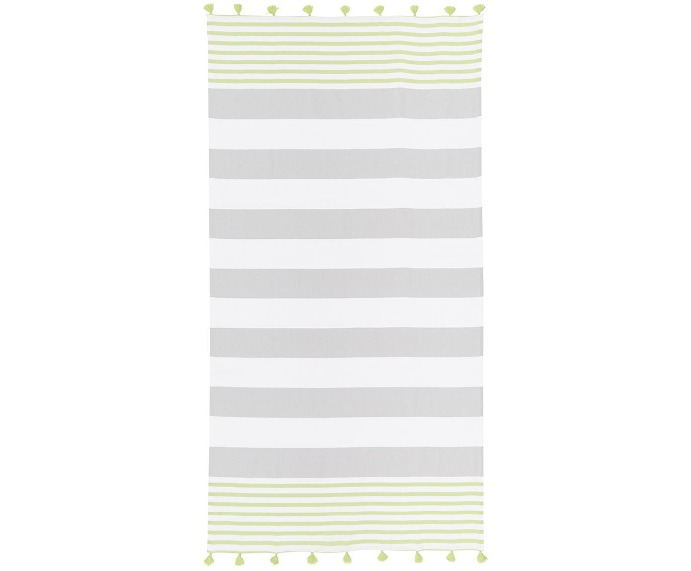 Gestreepte hamamdoek Pytris met kwastjes, Katoen Zeer licht materiaal, 185 g/m², Groen, grijs, wit, 95 x 175 cm