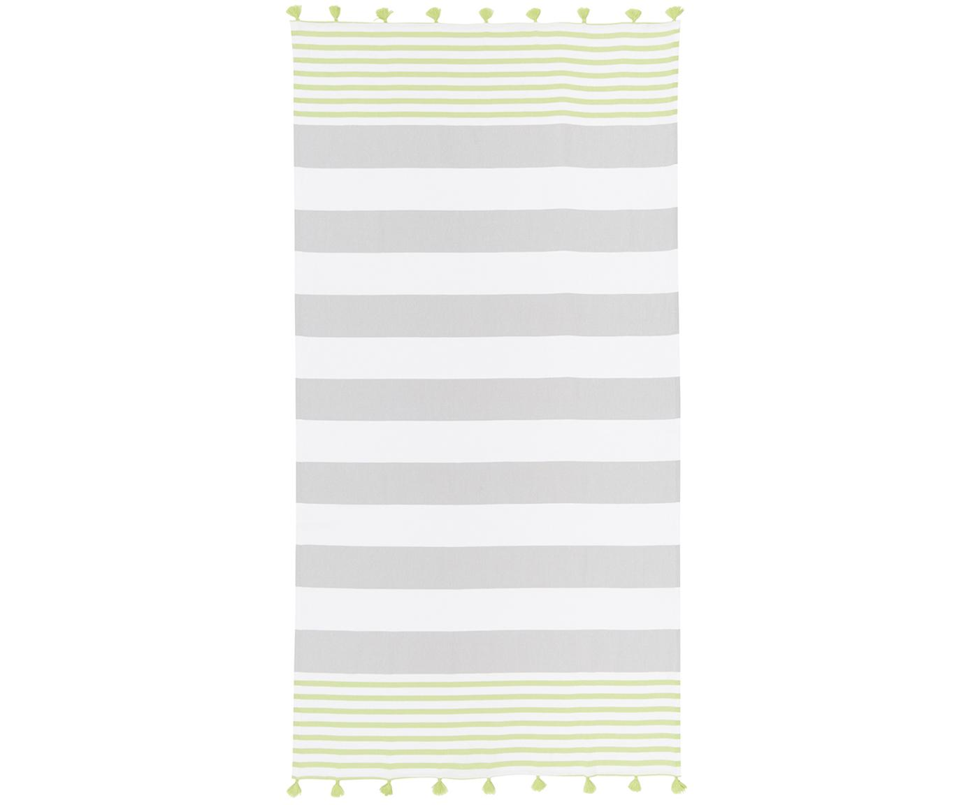 Gestreiftes Hamamtuch Pytris mit Quasten, 100% Baumwolle Sehr leichte Qualität, 185 g/m², Grün, Grau, Weiss, 95 x 175 cm