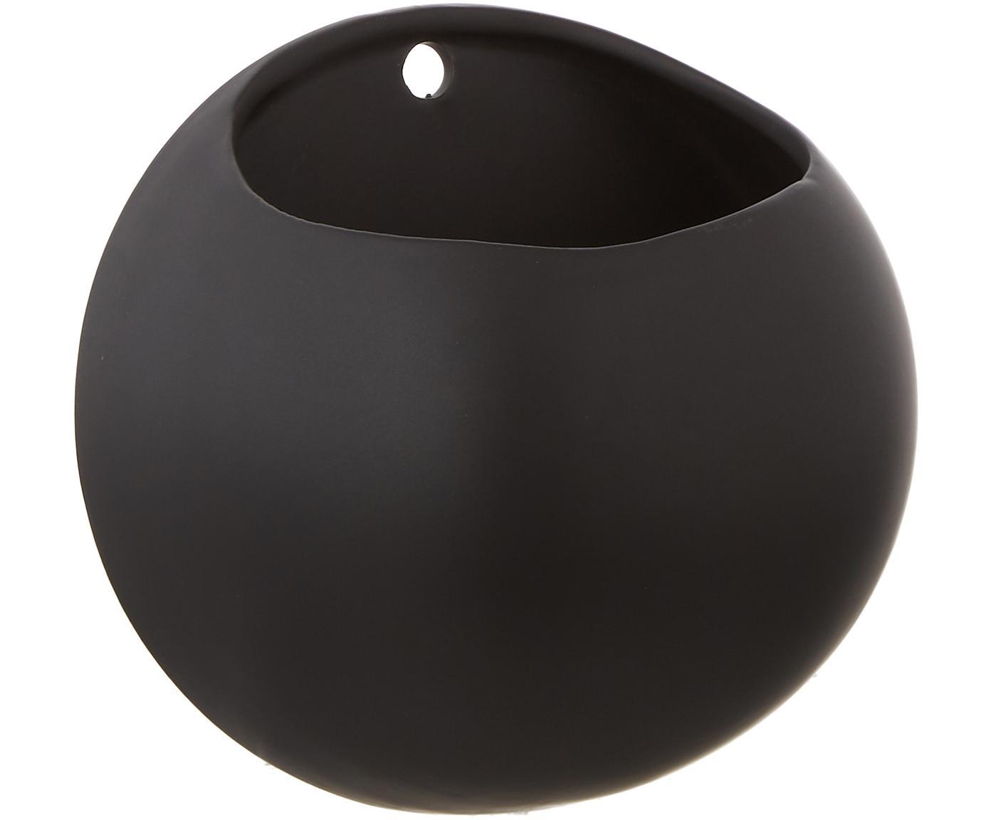 Wand-Übertopf Globe, Keramik, Schwarz, Ø 15 x H 15 cm