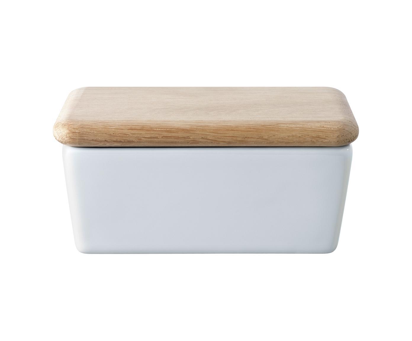 Butterdose Dine, Dose: Porzellan, Deckel: Eichenholz, Weiß, Eichenholz, 14 x 7 cm