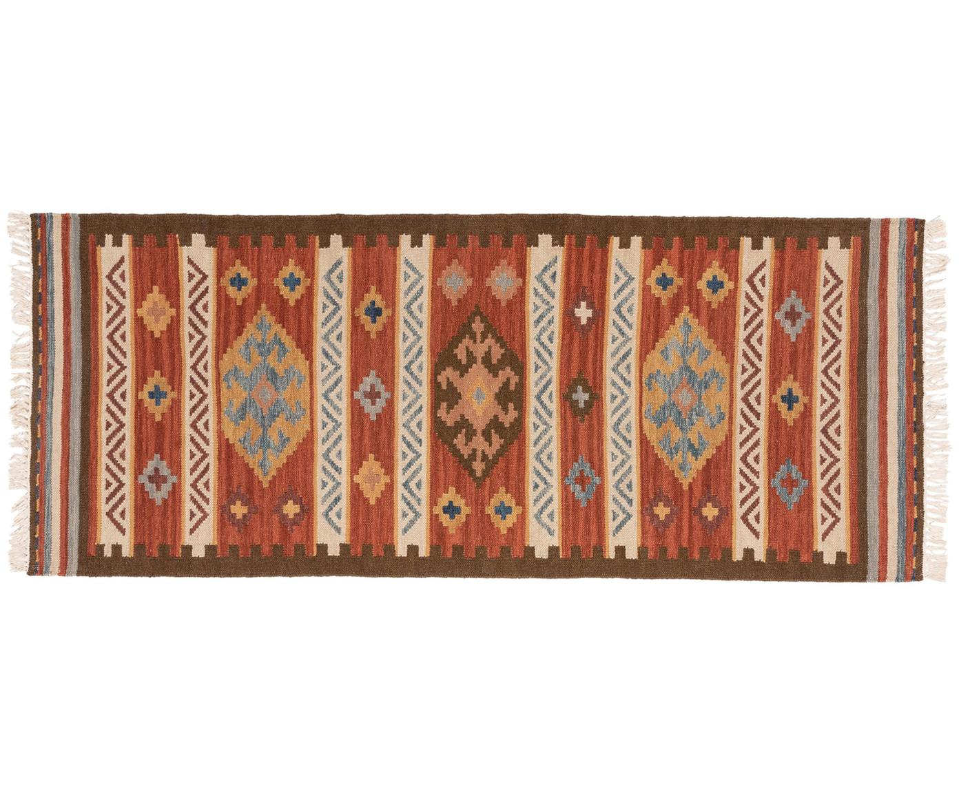 Alfombra de lana tejida a mano Zohra, Parte superior: 90%lana, 10%algodón, Reverso: lana, Rojo, multicolor, An 80 x L 200 cm