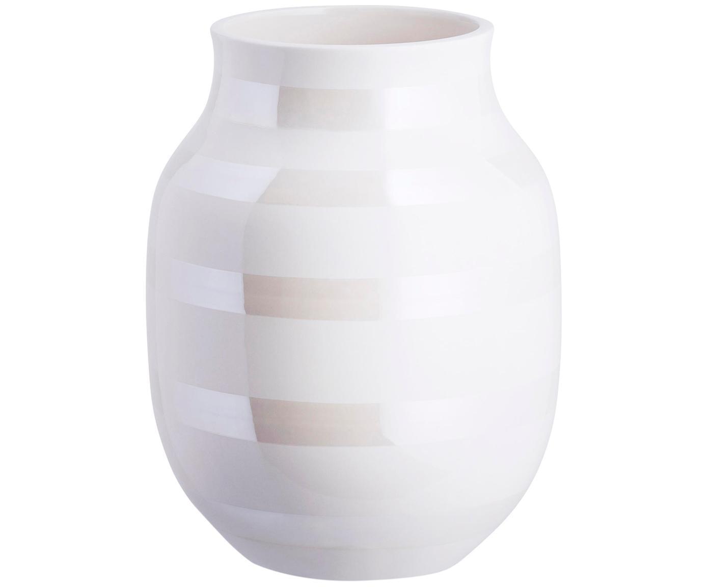 Handgefertigte Design-Vase Omaggio, medium, Keramik, Weiß, Perlmuttfarben, Ø 17 x H 20 cm