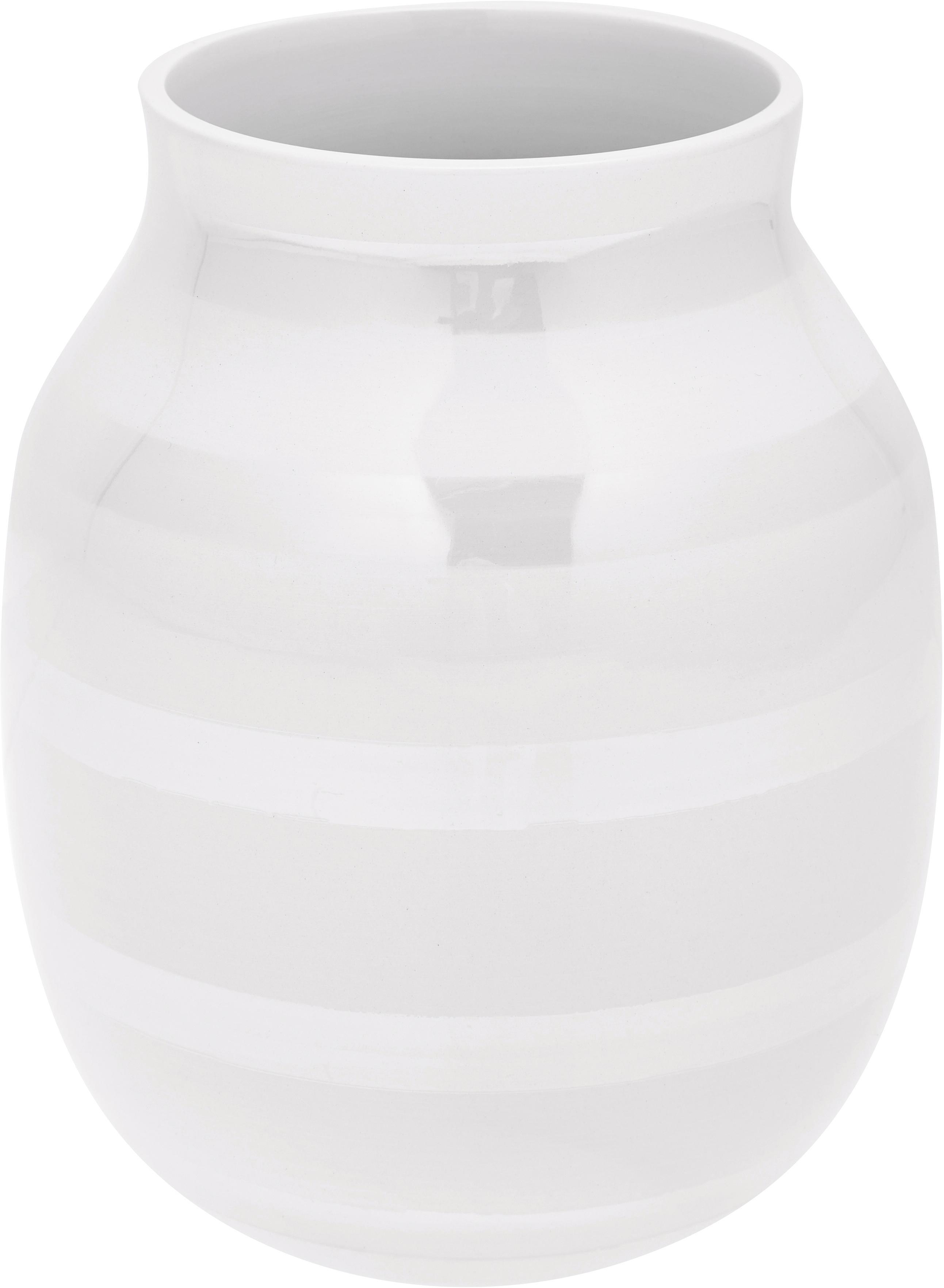 Jarrón artesanal de diseño Omaggio, mediano, Cerámica, Blanco, colores de perla, Ø 17 x Al 20 cm