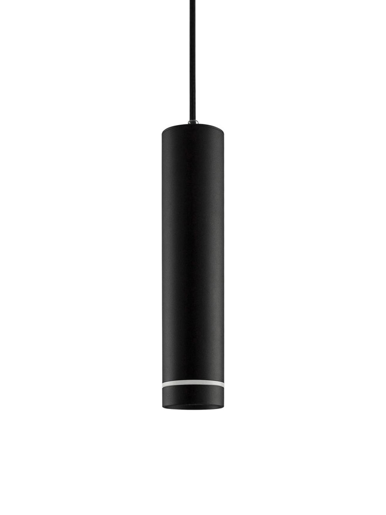 Kleine Pendelleuchte Esca, Lampenschirm: Aluminium, beschichtet, Diffusorscheibe: Acrylglas, Baldachin: Aluminium, beschichtet, Schwarz, Ø 6 x H 150 cm