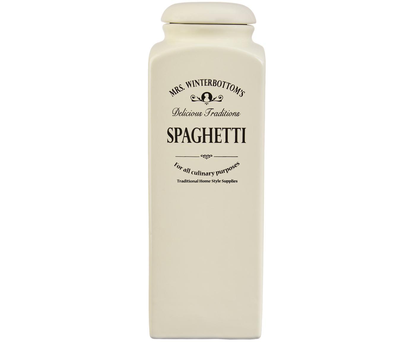Opbergpot Mrs Winterbottoms Spaghetti, Keramiek, Crèmekleurig, zwart, 12 x 32 cm