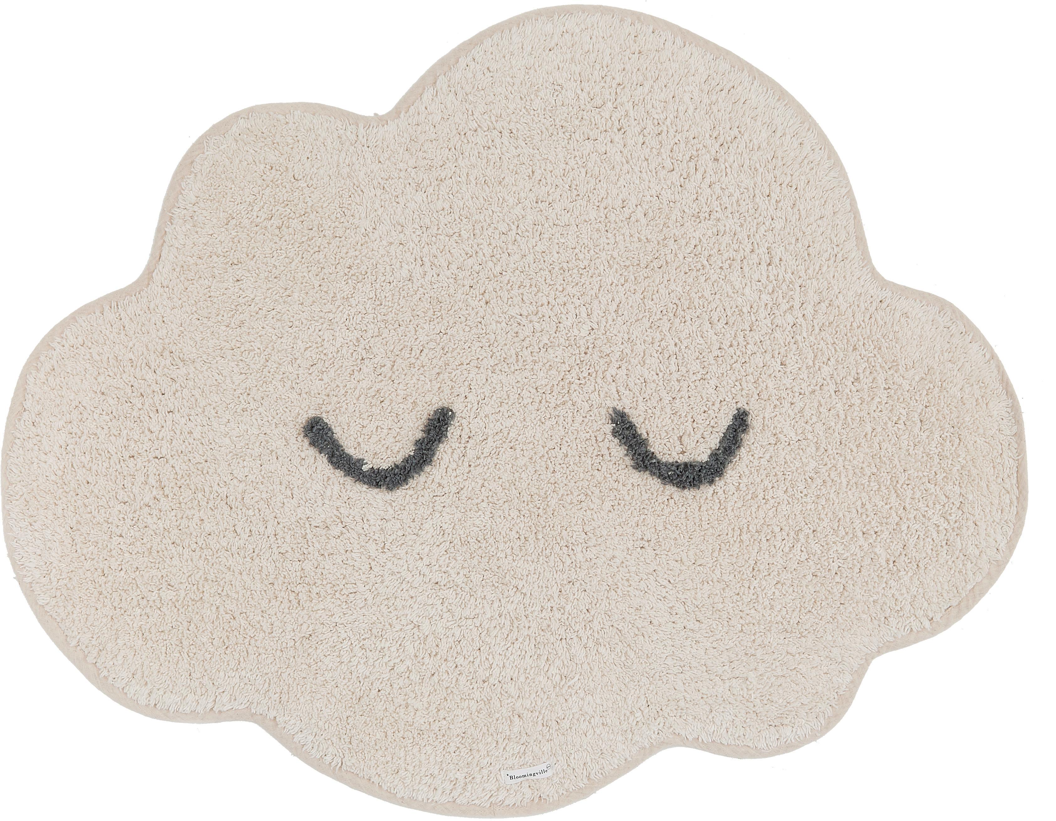 Alfombra de algodón ecológico Cloud, Algodón, Beige, An 57 x L 82 cm