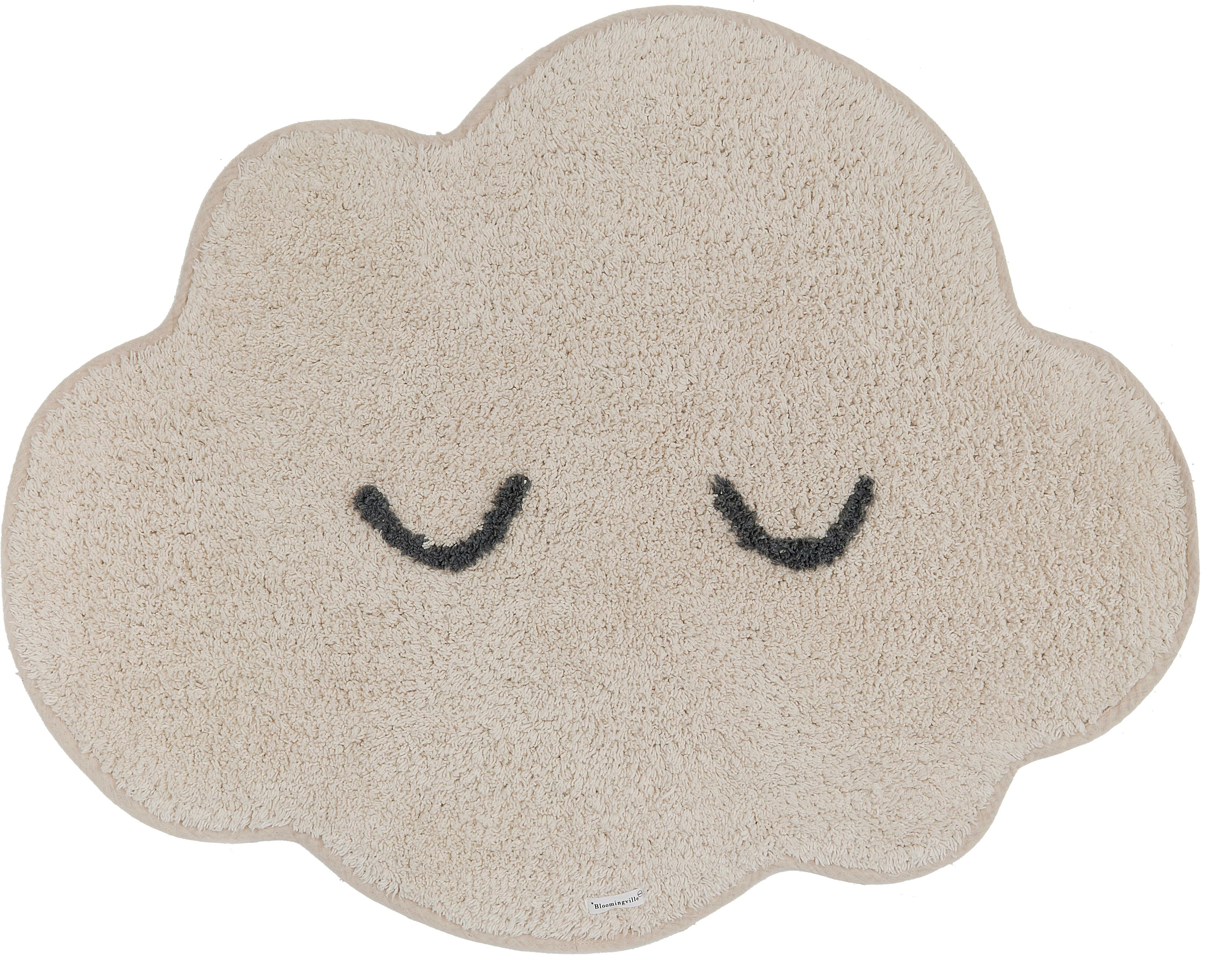 Vloerkleed Cloud, Katoen, Beige, 57 x 82 cm