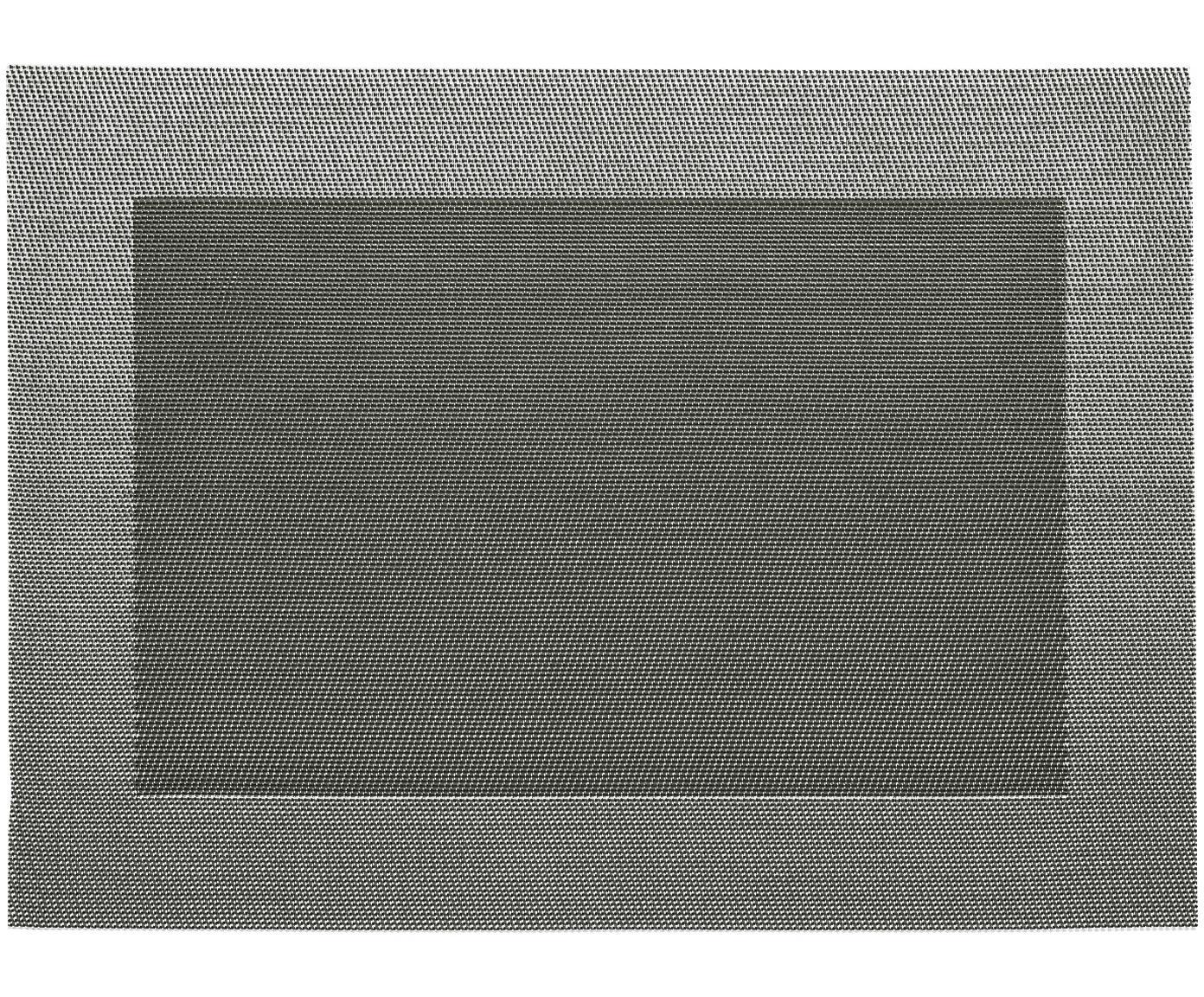 Kunststof placemat Modern, 2 stuks, Kunststof, Zilverkleurig, zwart, 33 x 46 cm
