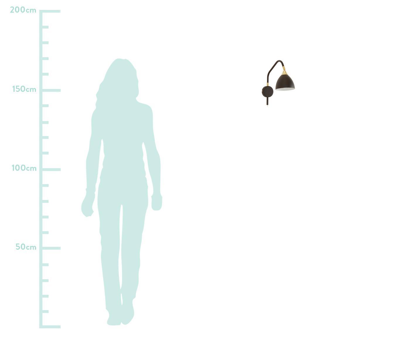 Applique con spina Luis, Nero, ottonato, Larg. 12 x Alt. 29 cm