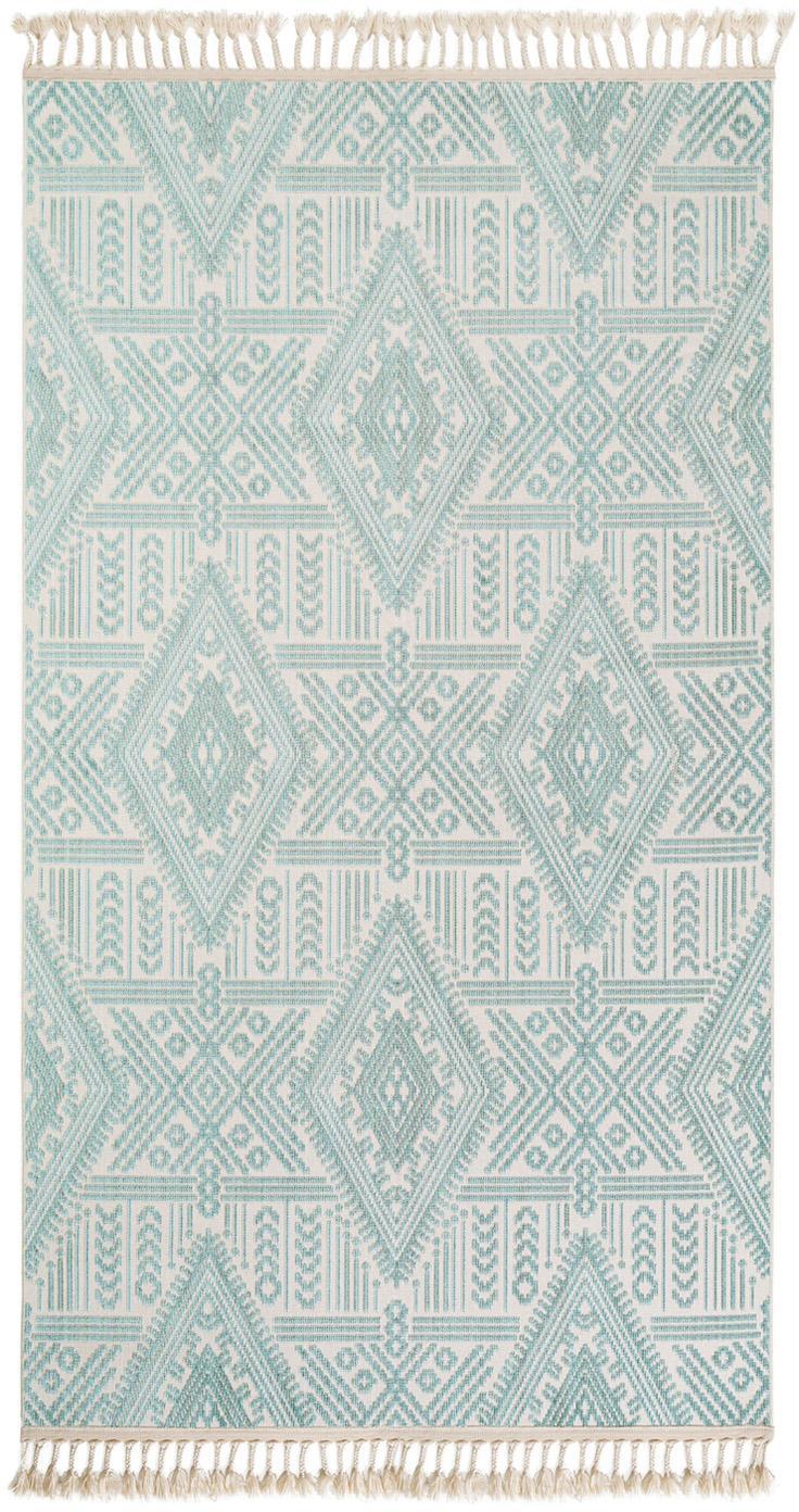 Alfombra texturizada Laila Tang, Parte superior: poliéster, Reverso: algodón, Crema, turquesa, An 80 x L 150  cm(Tamaño XS)