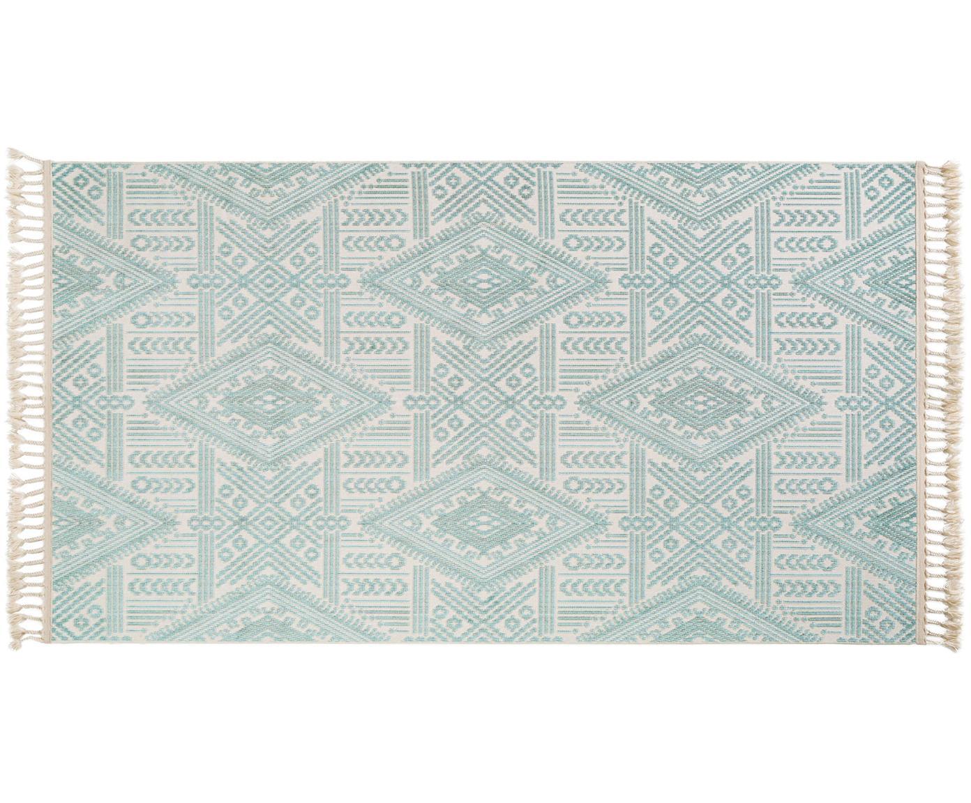 Alfombra texturizada Laila Tang, Parte superior: poliéster, Reverso: algodón, Crema, turquesa, An 80 x L 150 cm (Tamaño XS)