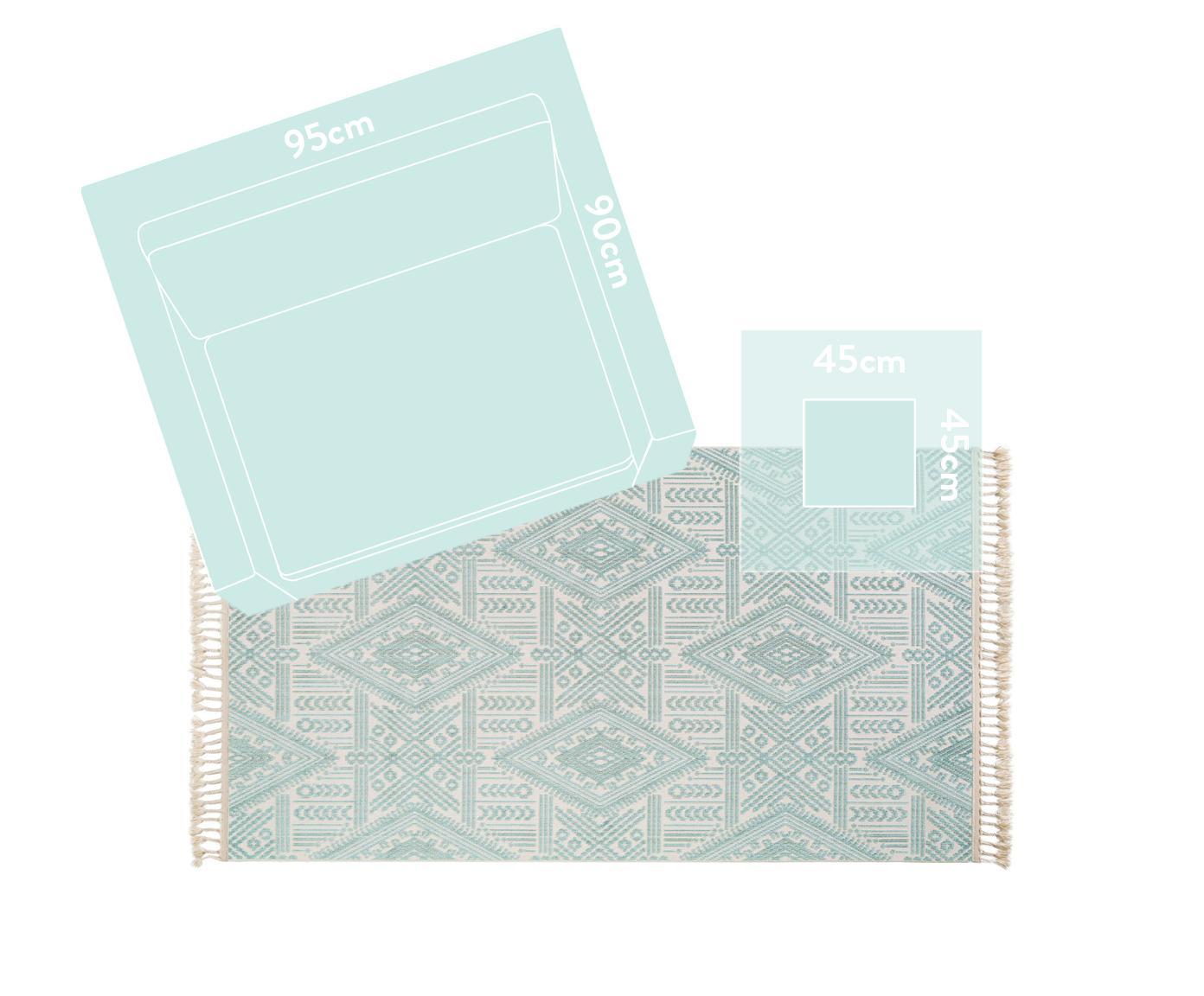 Teppich Laila Tang mit Hoch-Tief-Effekt in Türkis und Creme, Flor: Polyester, Cremefarben, Türkis, B 230 x L 340 cm (Größe L)