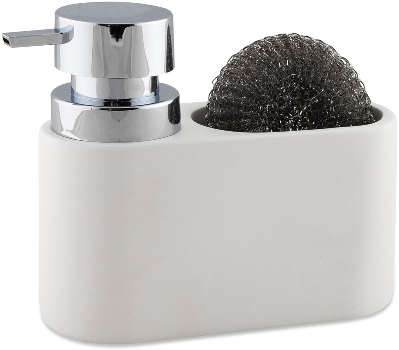 Set dispenser sapone con spugna Strepa 2 pz, Ceramica, metallo, Bianco, argentato, Larg. 19 x Alt. 15 cm