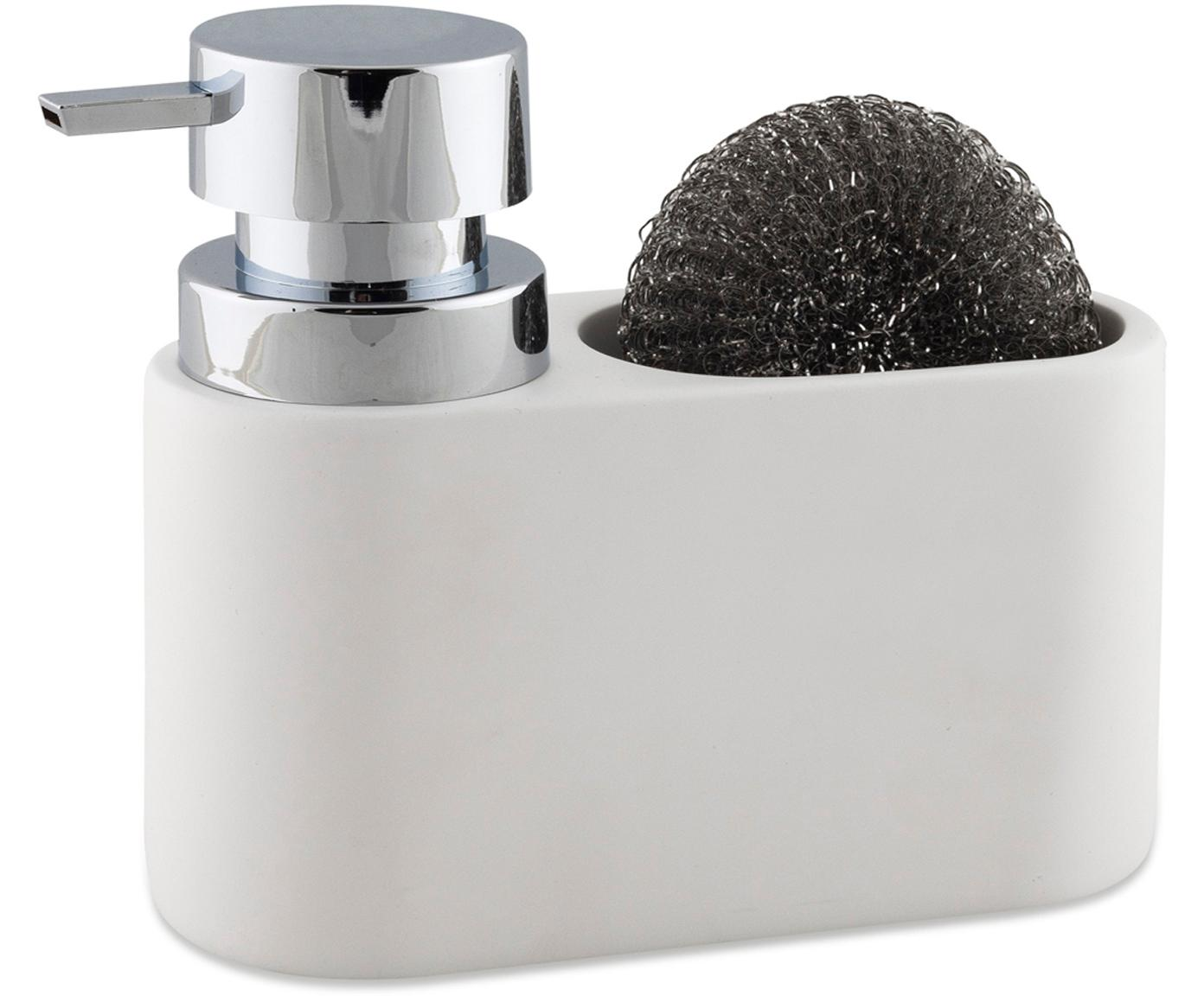 Zeepdispenser Strepa met spons, 2-delig, Keramiek, metaal, Wit, zilverkleurig, 19 x 15 cm