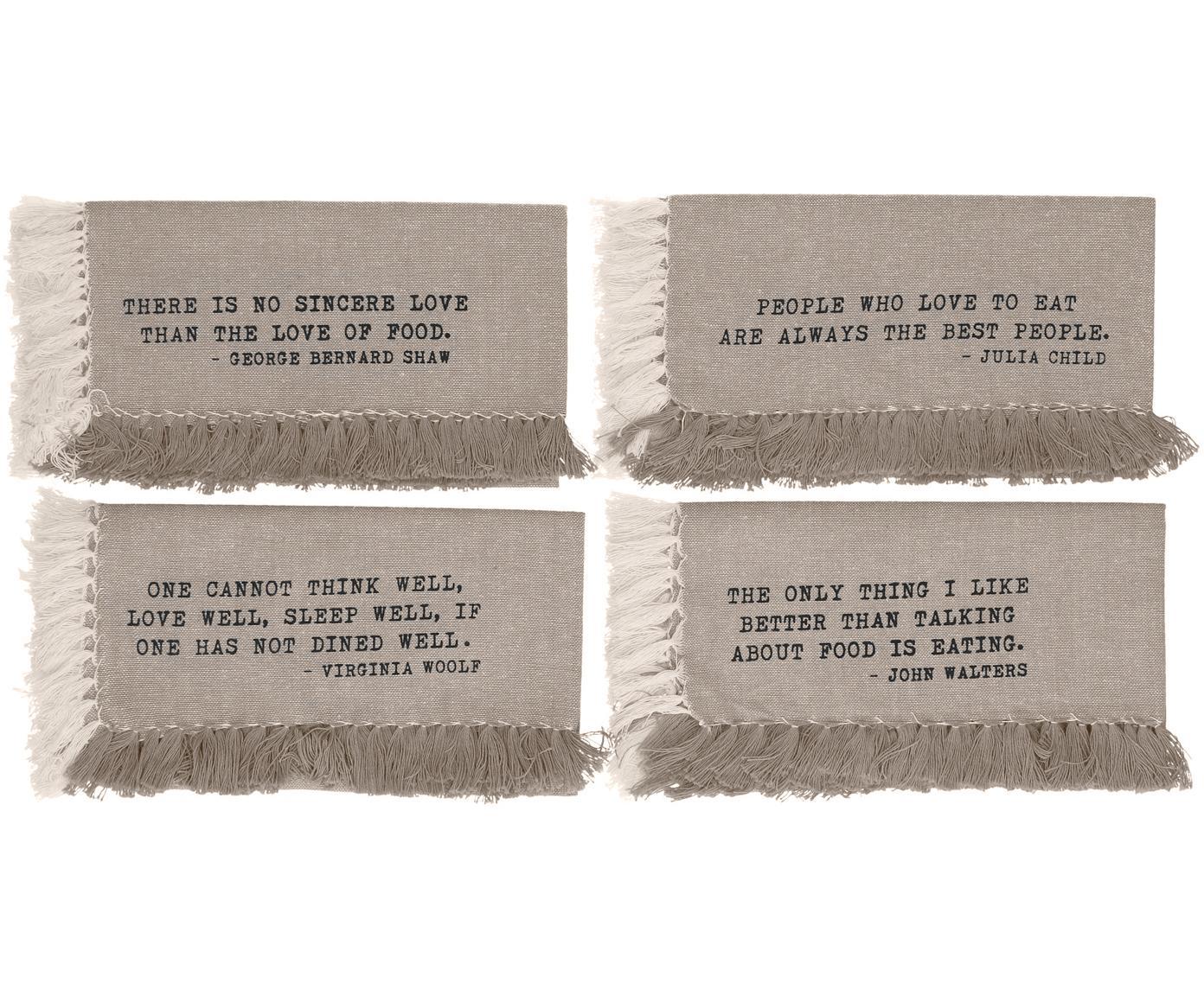Tischsets Enjoy, 4er Set, Baumwolle, Sandfarben, 33 x 48 cm