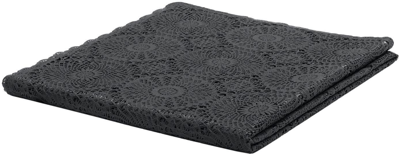 Tovaglia di plastica effetto all'uncinetto Crochet, Materiale sintetico (PVC), Nero, Per 8-10 persone (Larg.150 x Lung. 264 cm)