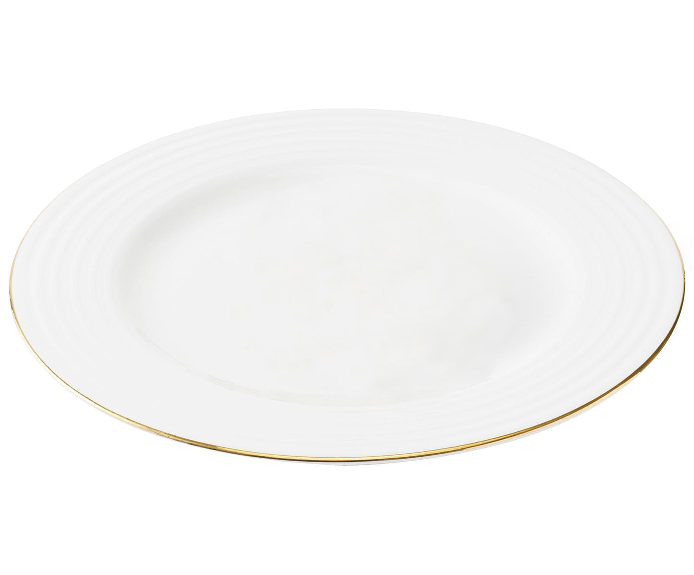 Frühstücksteller Cobald mit goldenem Rand und Rillenrelief, 4 Stück, Porzellan, Weiss, Goldfarben, Ø 23 cm