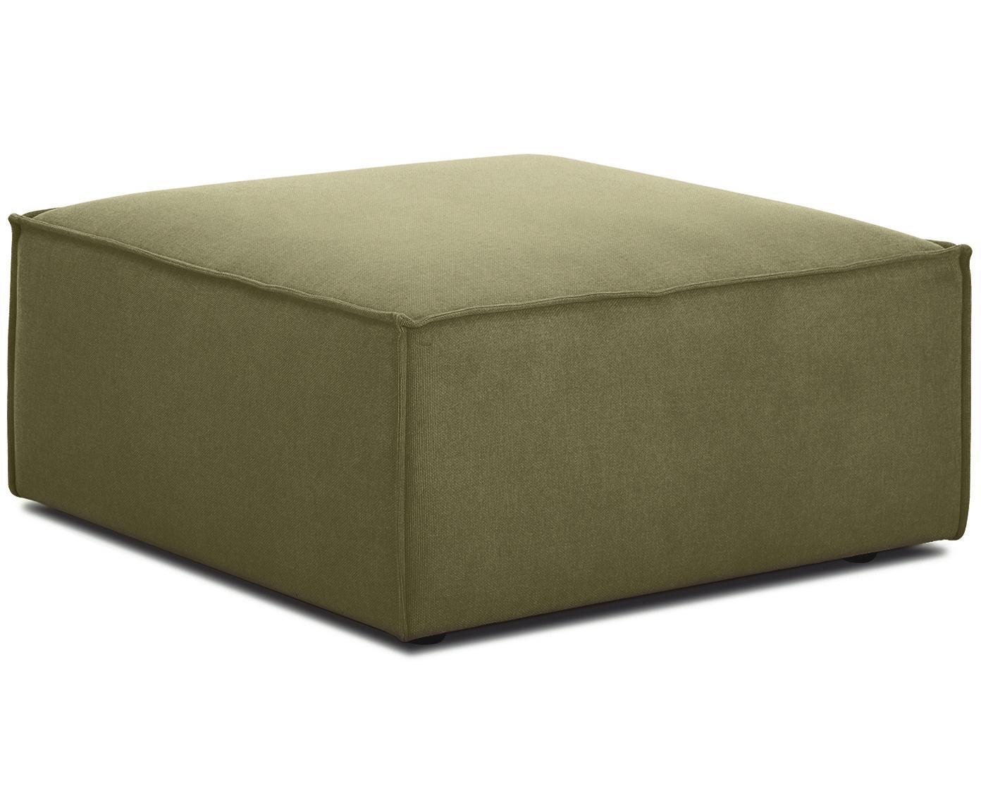 Poggiapiedi da divano Lennon, Rivestimento: 100% poliestere 35.000 ci, Struttura: legno di pino massiccio, , Piedini: materiale sintetico, Rivestimento: verde Piedini: nero, Larg. 88 x Alt. 43 cm