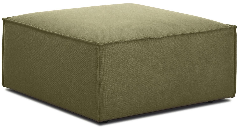 Poggiapiedi da divano verde Lennon, Rivestimento: 100% poliestere 35.000 ci, Struttura: legno di pino massiccio, , Piedini: materiale sintetico, Rivestimento: verde Piedini: nero, Larg. 88 x Alt. 43 cm