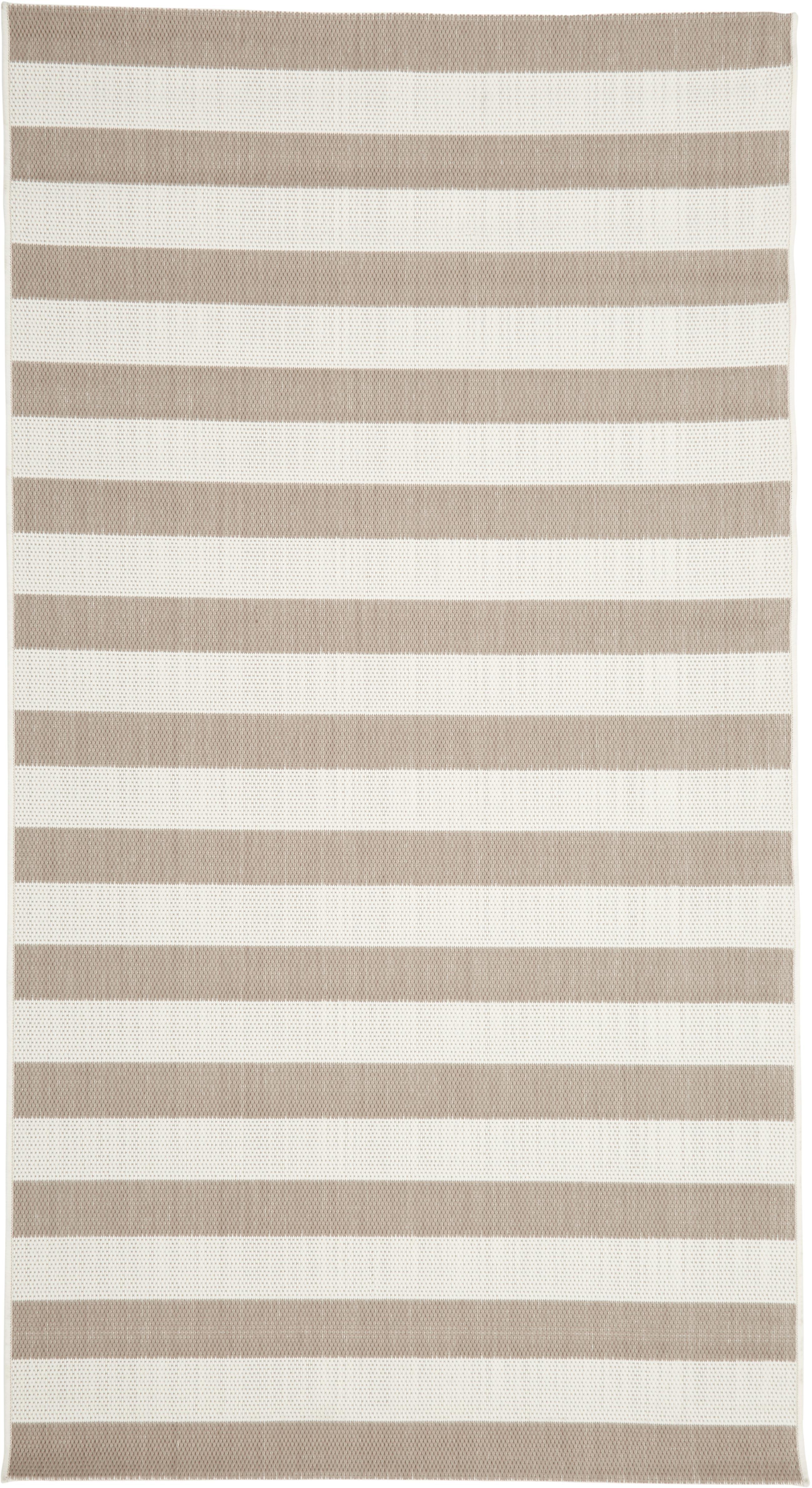 Gestreept in- & outdoor vloerkleed Axa in beige/wit, Bovenzijde: polypropyleen, Onderzijde: polyester, Crèmewit, beige, B 80 x L 150 cm (maat XS)