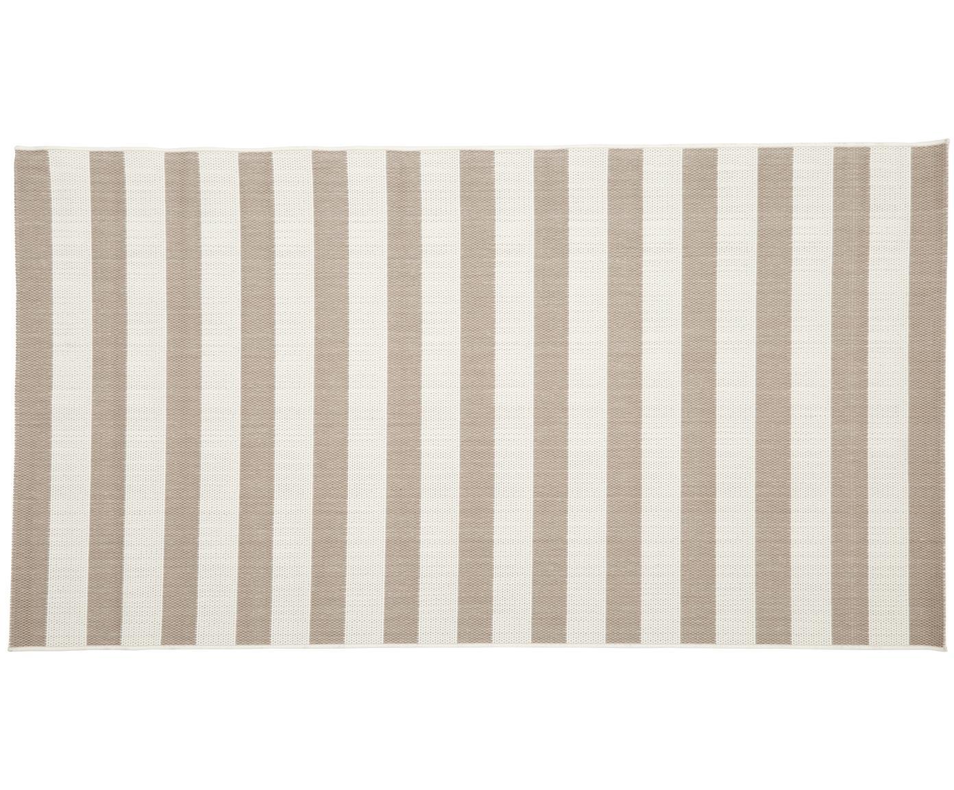 Gestreifter In- & Outdoor-Teppich Axa in Beige/Weiss, Flor: 100% Polypropylen, Cremeweiss, Beige, B 80 x L 150 cm (Grösse XS)