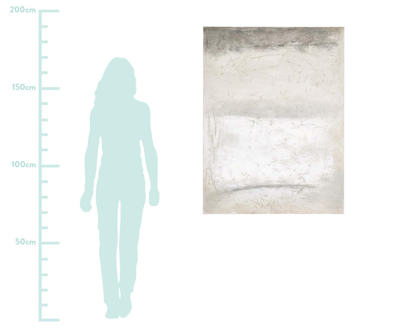 Handbemalter Leinwanddruck Shapes, Bild: Digitaldruck auf Leinwand, Grau, 90 x 120 cm
