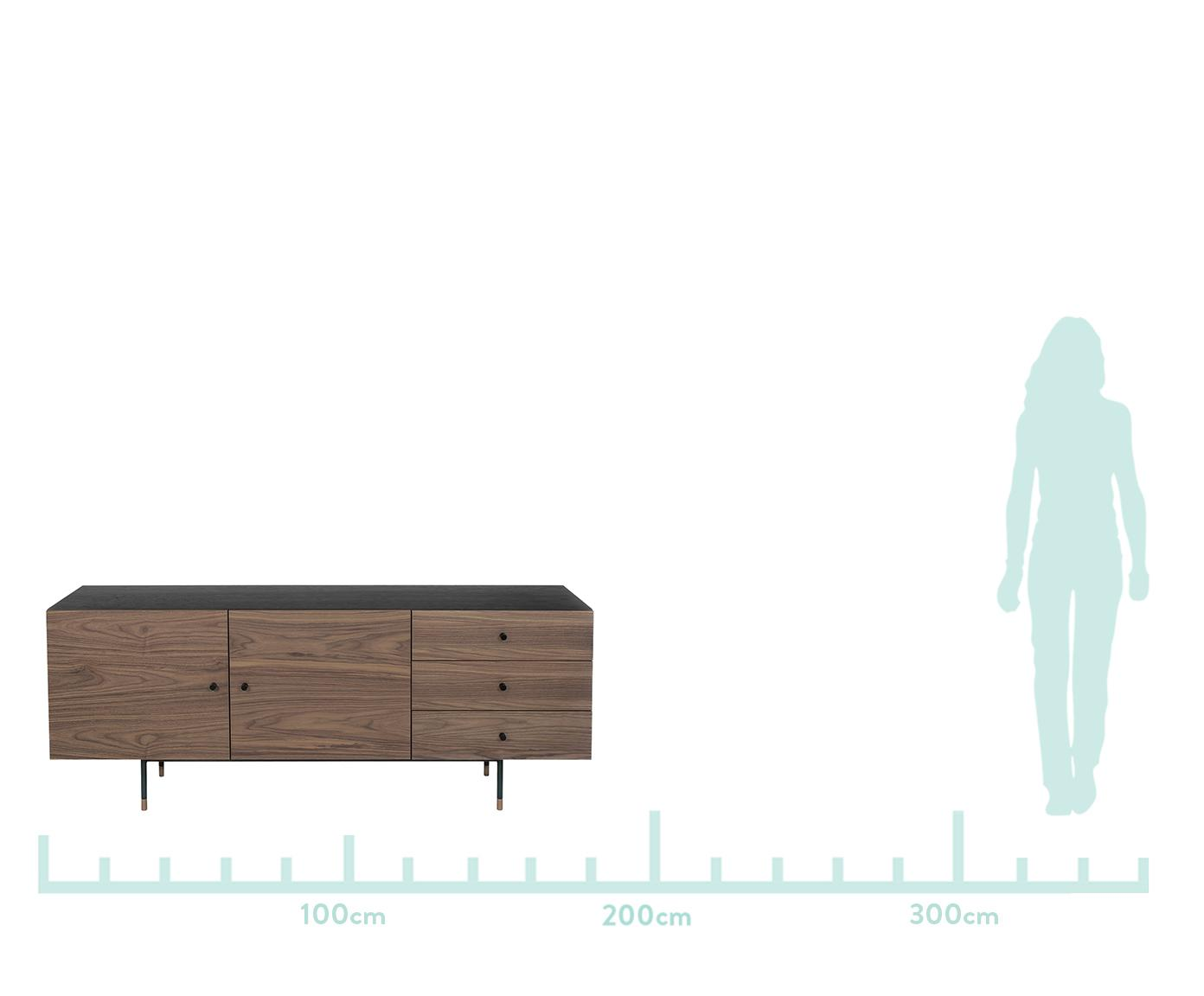 Sideboard Youth mit Eichenholzfurnier, Korpus: Mitteldichte Holzfaserpla, Füße: Metall, pulverbeschichtet, Griffe: Metall, Walnussholz, 180 x 70 cm