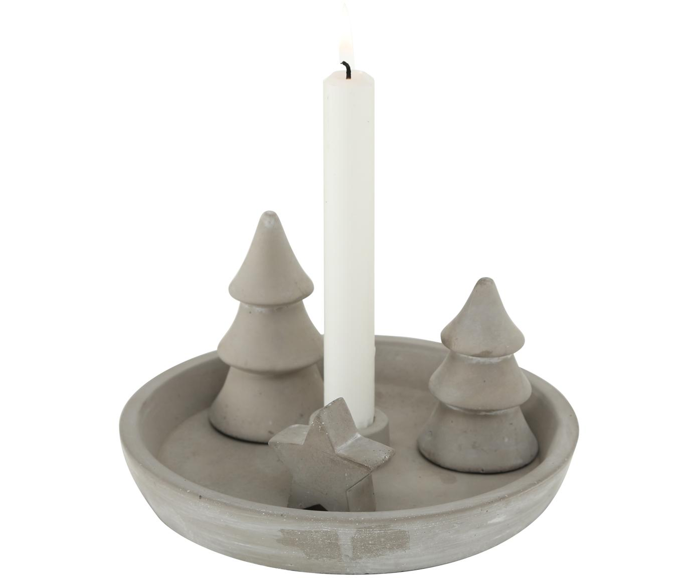 Set portacandela natalizio in cemento Bolek 4 pz, Cemento, Grigio, Ø 20 x Alt. 11 cm