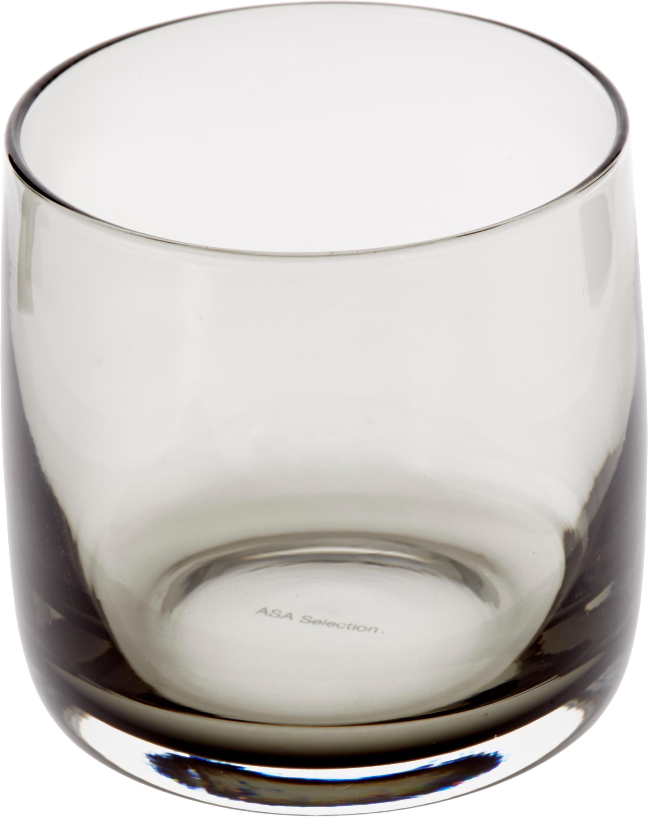 Handgemachte Wassergläser Colored in Grau transparent, 6 Stück, Glas, Grau, transparent, Ø 8 x H 8 cm