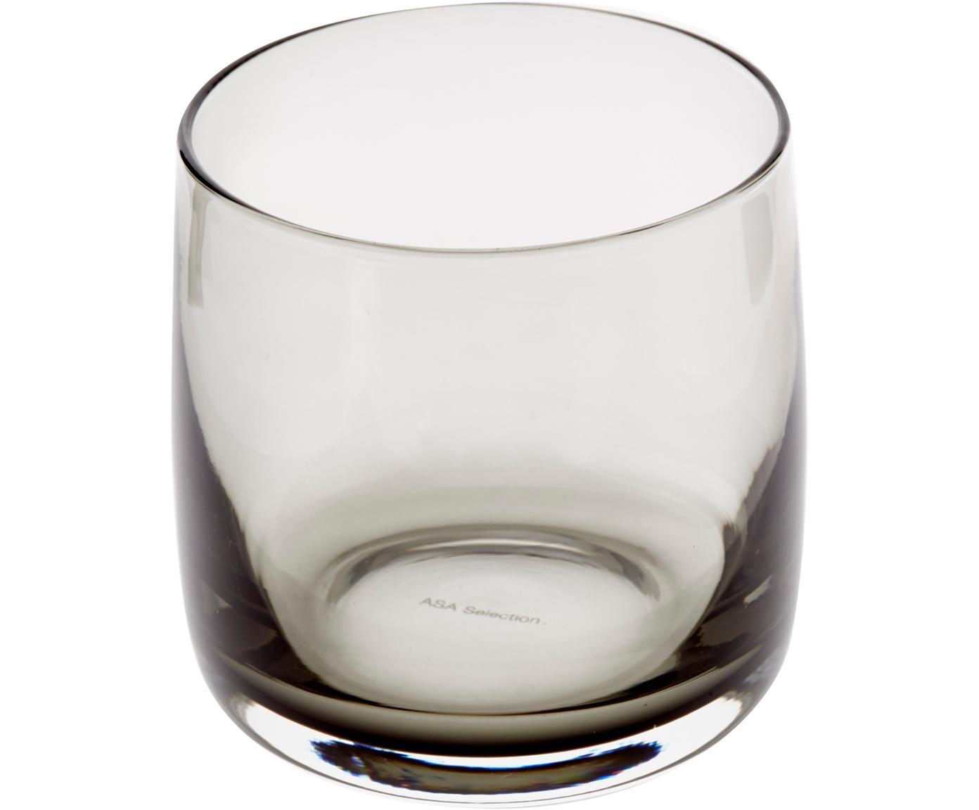 Vasos artesanales Colored, 6uds., Vidrio, Gris, transparente, Ø 8x Al 8 cm