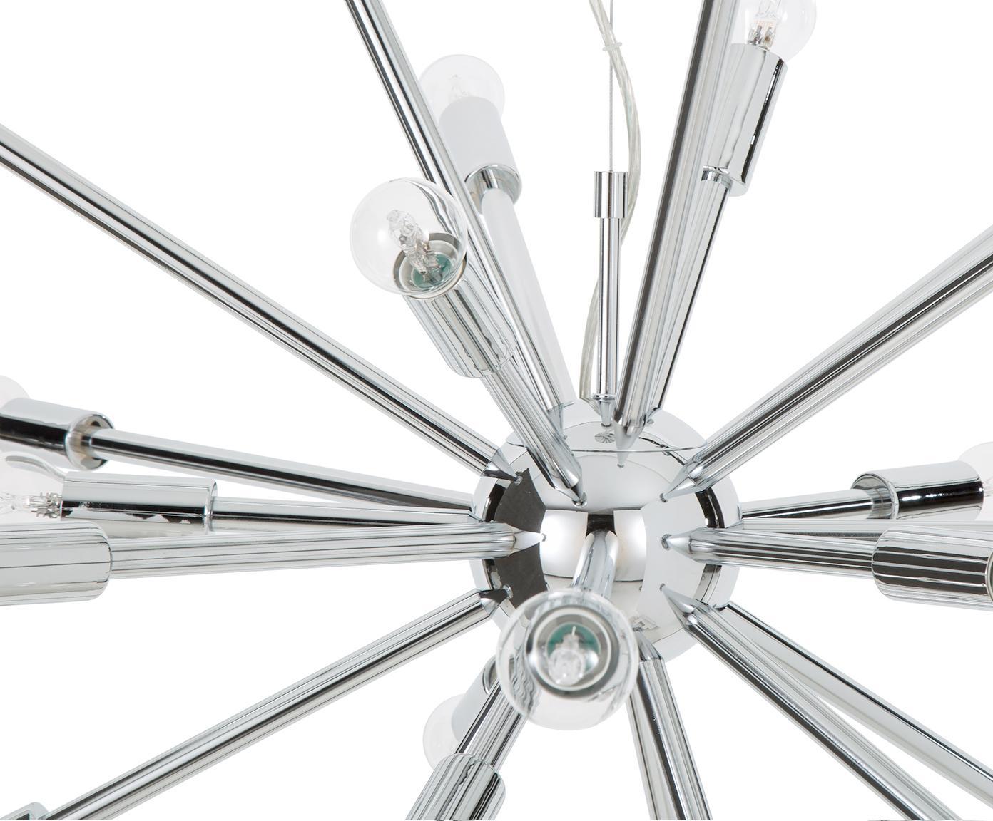 Duża lampa wisząca Spike, Chrom, Ø 90 cm