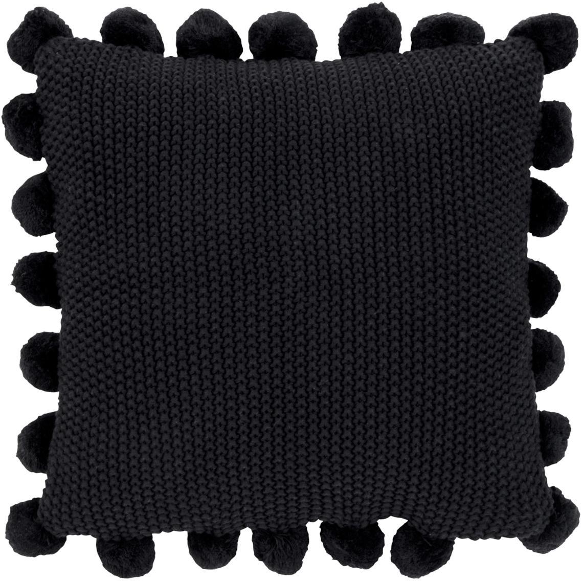 Poszewka na poduszkę ze skóry z dzianiny Molly, 100% bawełna, Czarny, S 40 x D 40 cm