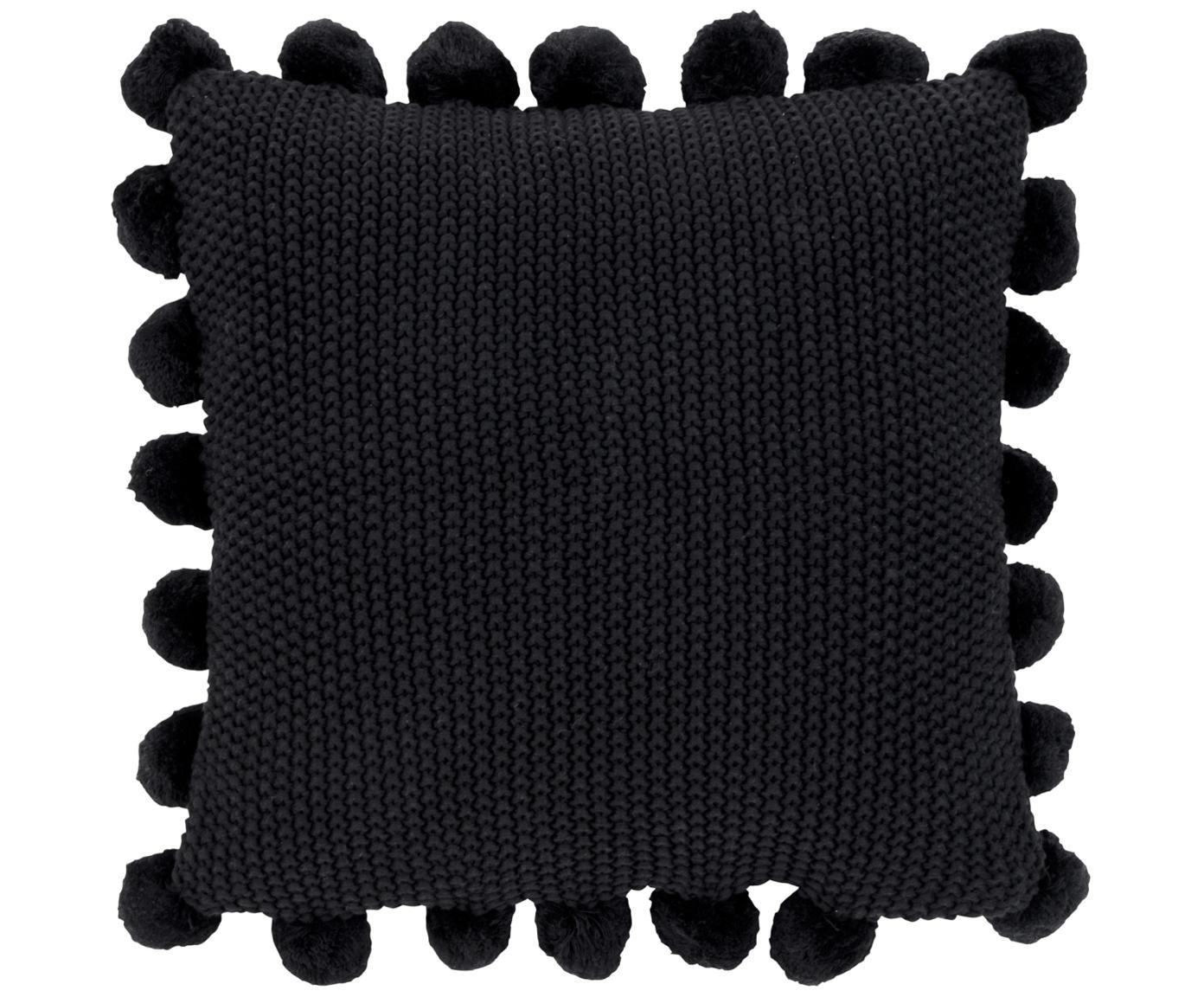 Gebreide kussenhoes Molly, 100% katoen, Zwart, 40 x 40 cm