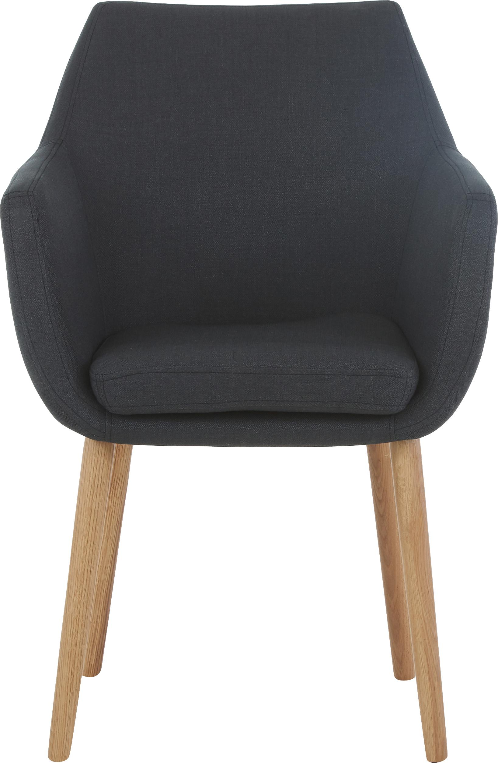 Armlehnstuhl Nora im Skandi Design, Bezug: 100% Polyester, Beine: Eichenholz, Webstoff Anthrazit, Beine Eiche, B 58 x T 58 cm