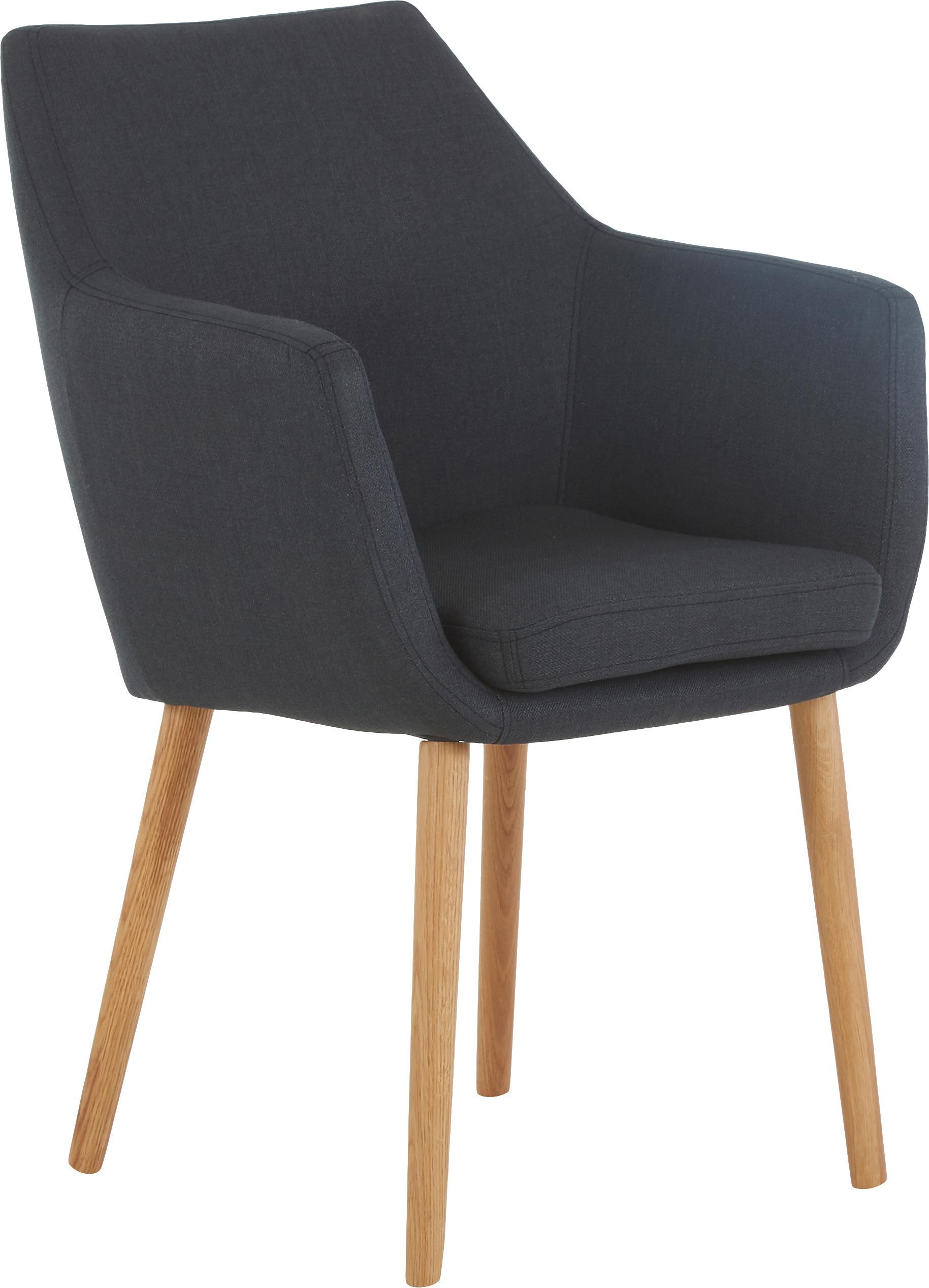 Armstoel Nora in Scandi design, Bekleding: 100% polyester, Poten: eikenhout, Bekleding: antraciet. Frame: eikenhoutkleurig, 58 x 84 cm