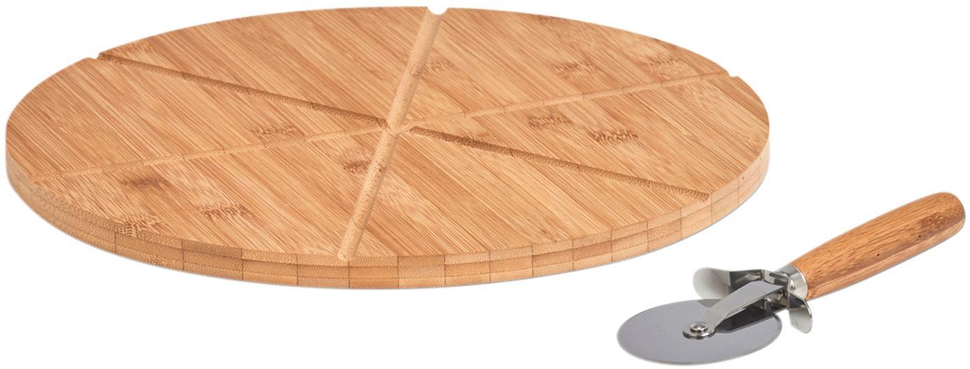 Bamboe pizzaset Italiana, 2-delig, Bamboe, metaal, Bamboehoutkleurig, zilverkleurig, Ø 32 cm