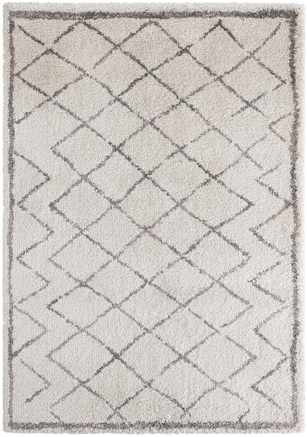 Hochflor-Teppich Grace Diamond mit Rautenmuster, Grau/Creme, Flor: 100% Polypropylen, Creme, Grau, B 120 x L 170 cm (Größe S)
