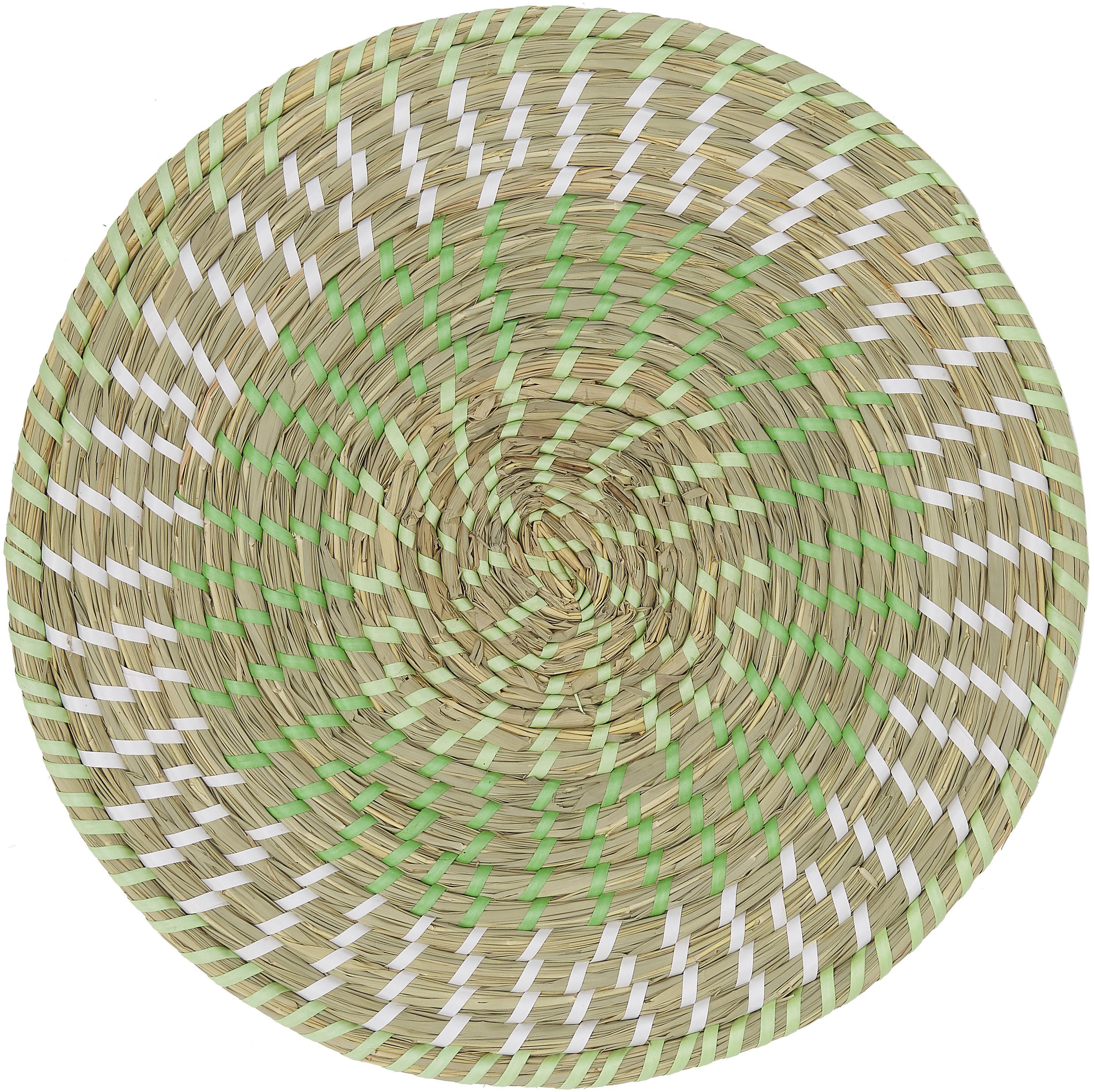 Set 6 tovagliette americane rotonde Mexico, Paglia, Multicolore, Ø 38 cm