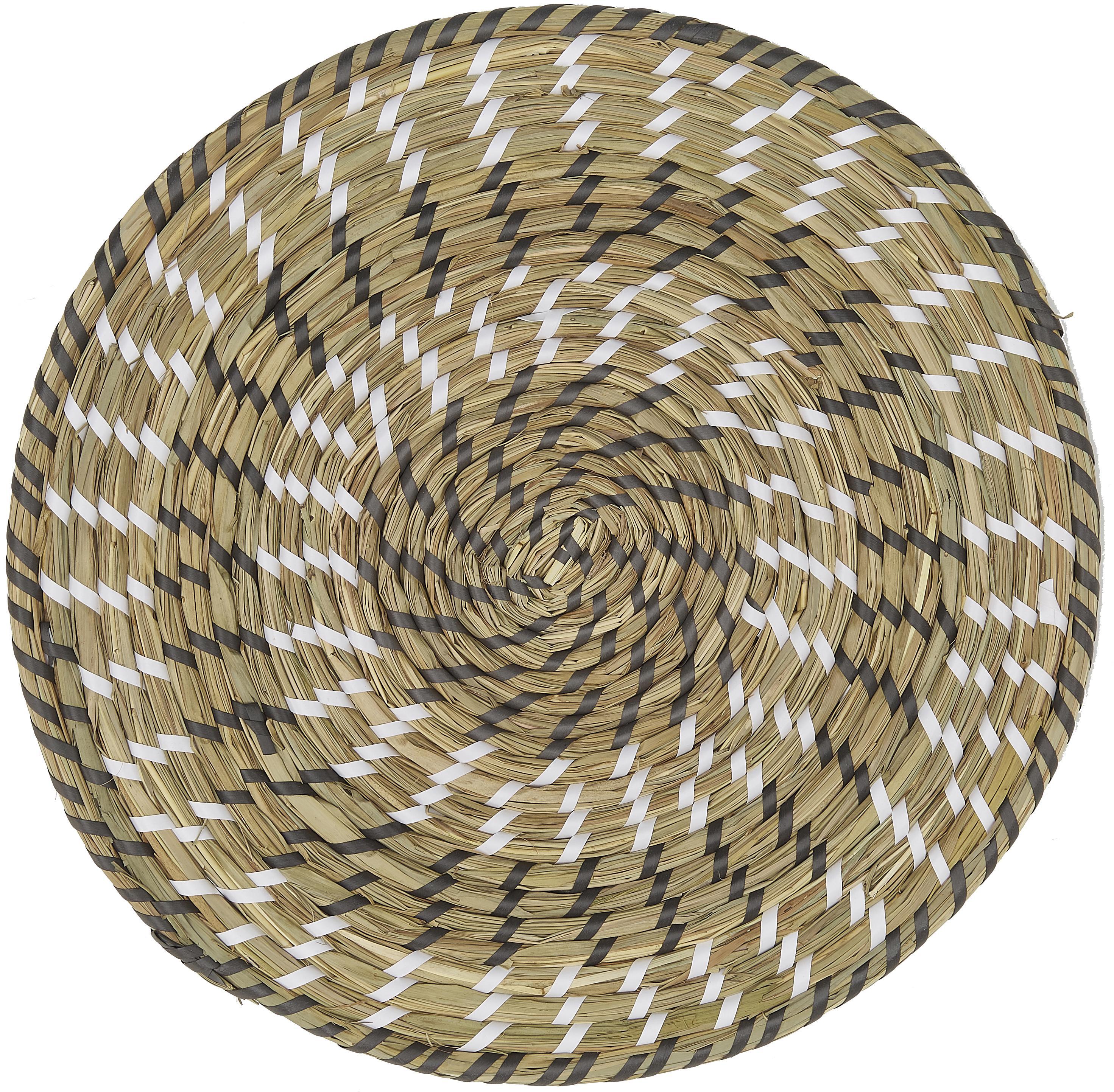 Runde Tischsets Mexico aus Naturfasern, 6er Set, Stroh, Mehrfarbig, Ø 38 cm