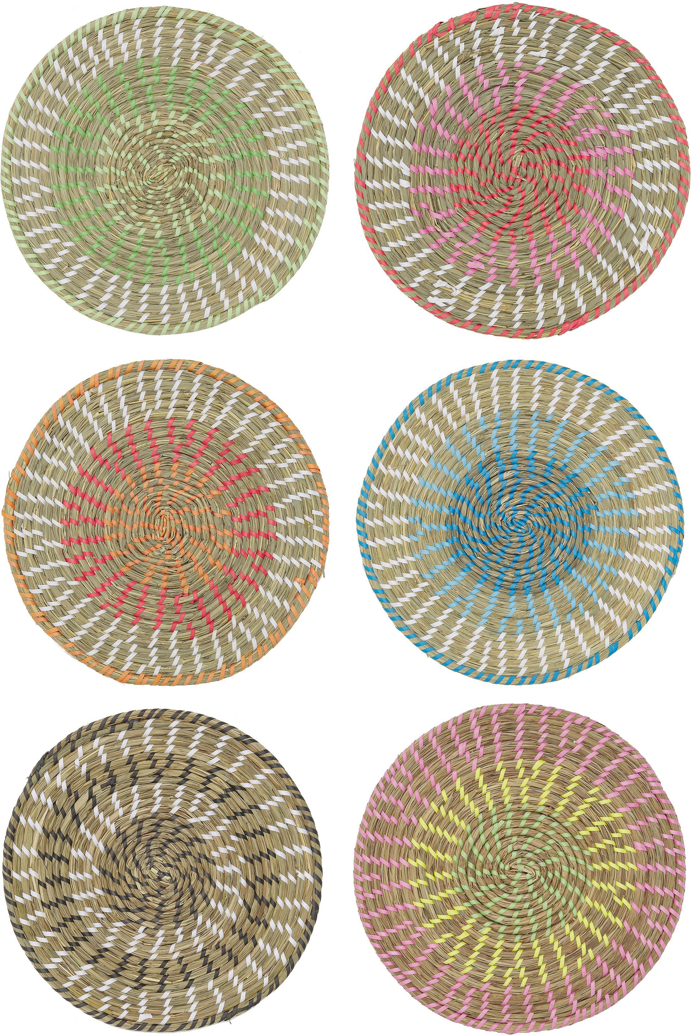 Set de manteles individuales redondos Mexico, 6pzas., Paja, Multicolor, Ø 38 cm
