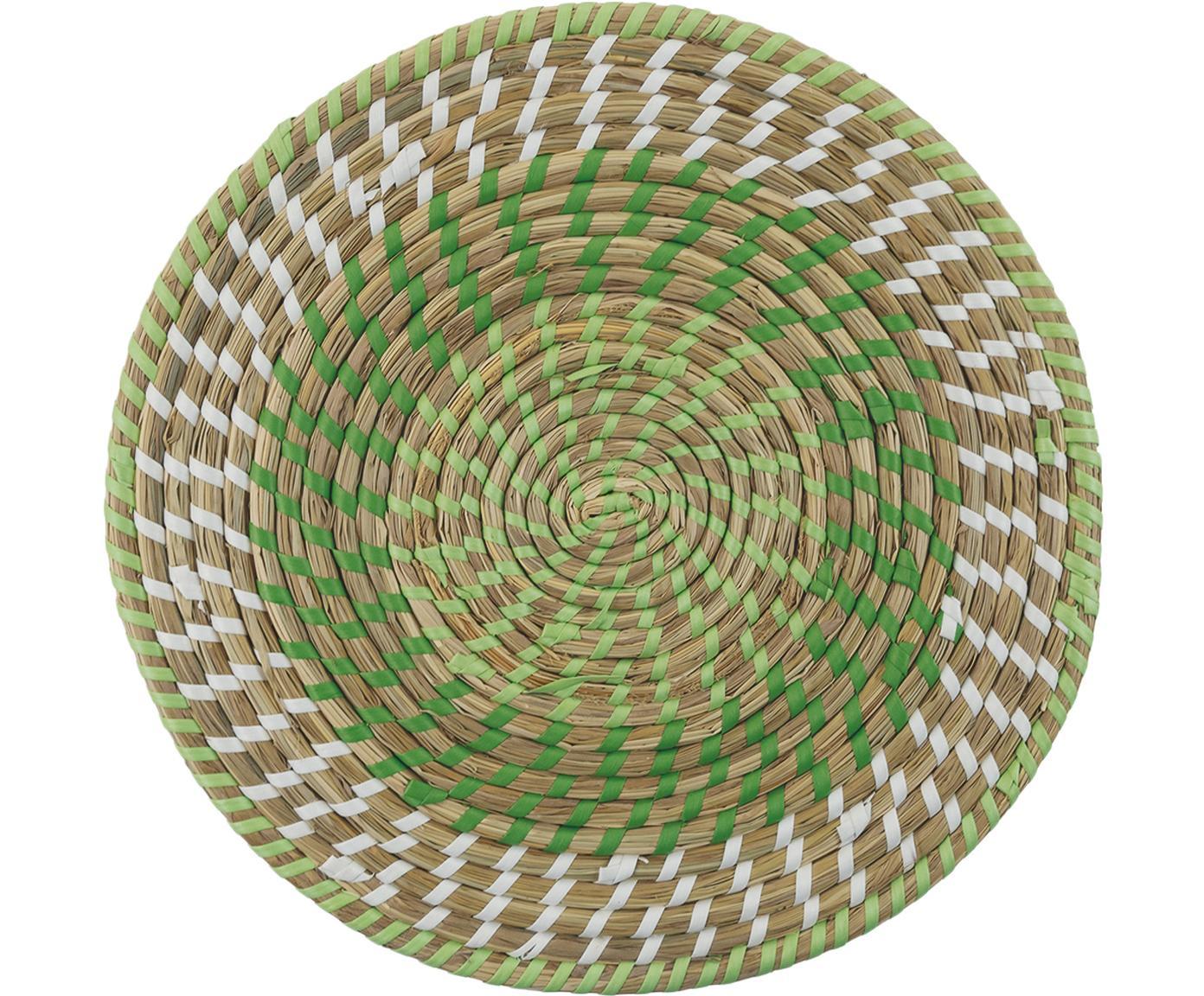 Komplet okrągłych podkładek z włókien naturalnych Mexico, 6 elem., Słoma, Wielobarwny, Ø 38 cm