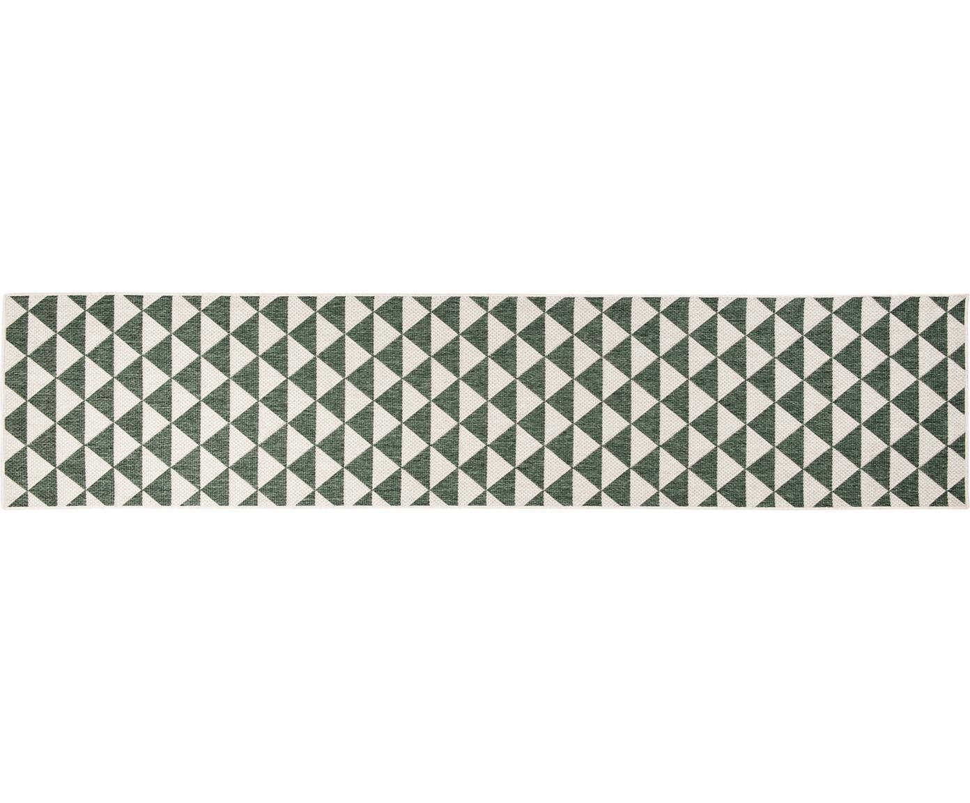 Gemusterter In- & Outdoor-Läufer Tahiti in Grün/Creme, 100% Polypropylen, Grün, Cremefarben, 80 x 350 cm