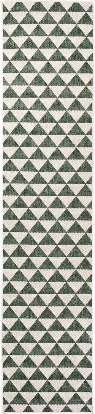 In- & outdoor loper met patroon Tahiti in groen/crèmekleur, 100% polypropyleen, Groen, crèmekleurig, 80 x 350 cm
