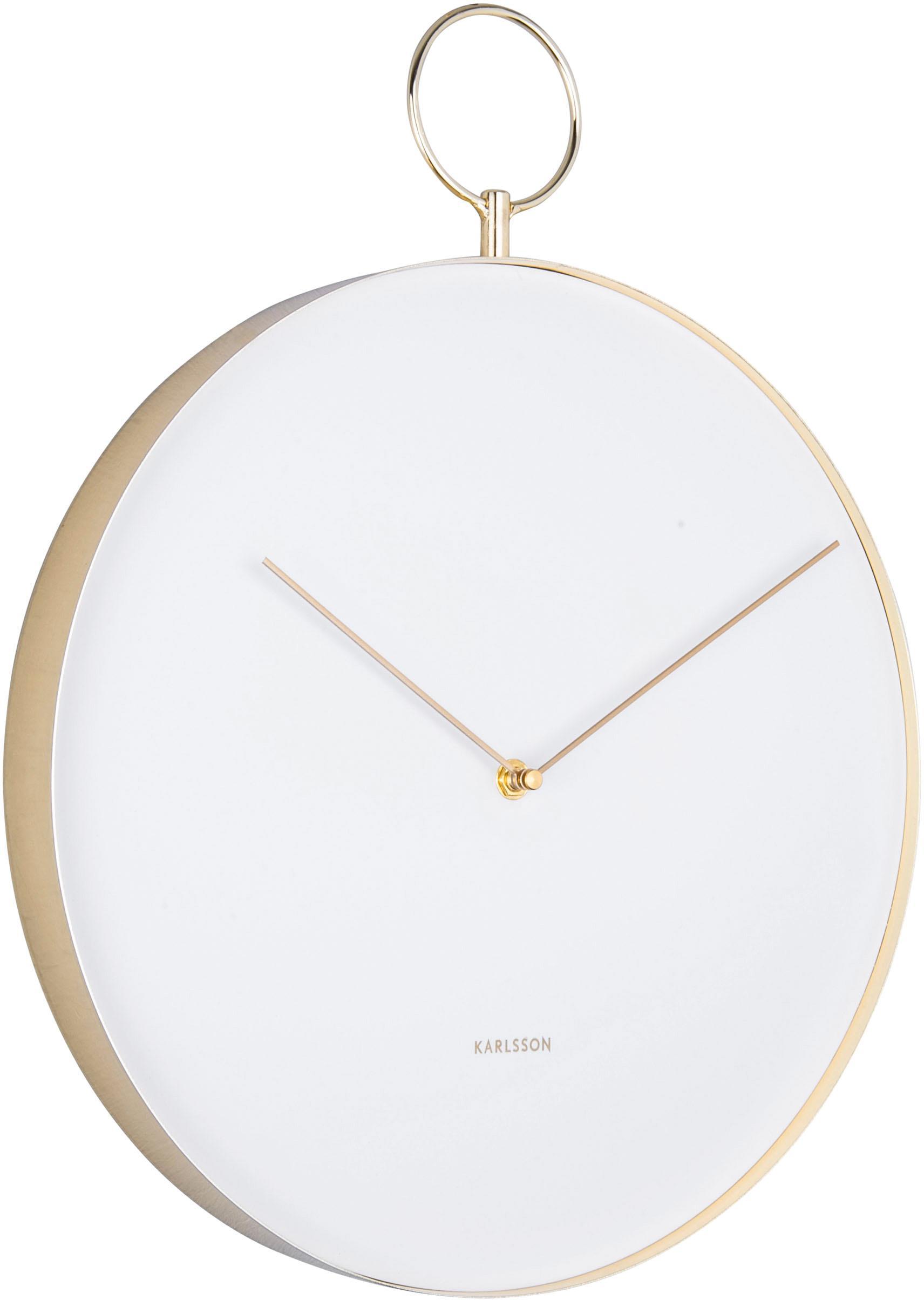 Nástěnné hodiny Hook, Bílá, mosazná