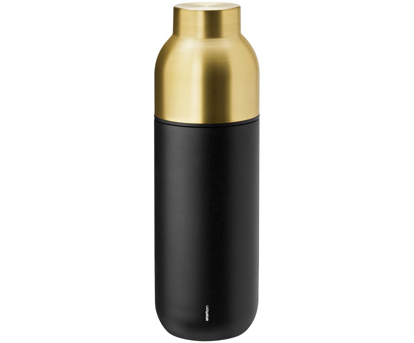 Isolierkanne Collar in Schwarz/Gold, Korpus: Edelstahl mit Teflonbesch, Korpus: Schwarz, mattSchraubverschluss: Messing, 750 ml