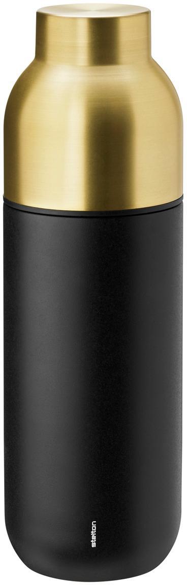 Thermosfles Collar, Frame: edelstaal met Teflon coat, Frame: mat zwart. Schroefdop: messingkleurig, 750 ml