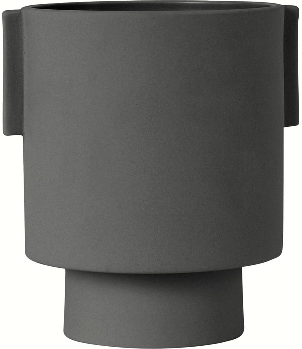 Handgefertigter Übertopf Ika aus Keramik, Keramik, Dunklegrau, Ø 15 x H 16 cm