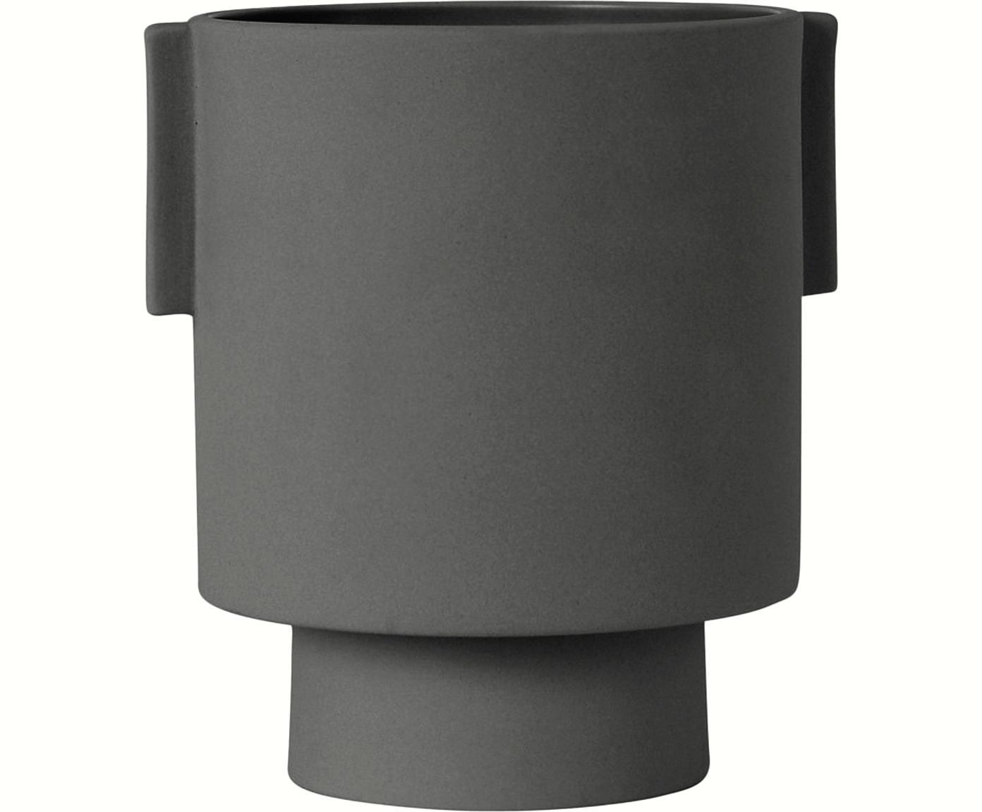 Handgefertigter Übertopf Ika Kana, Keramik, Dunklegrau, Ø 15 x H 16 cm